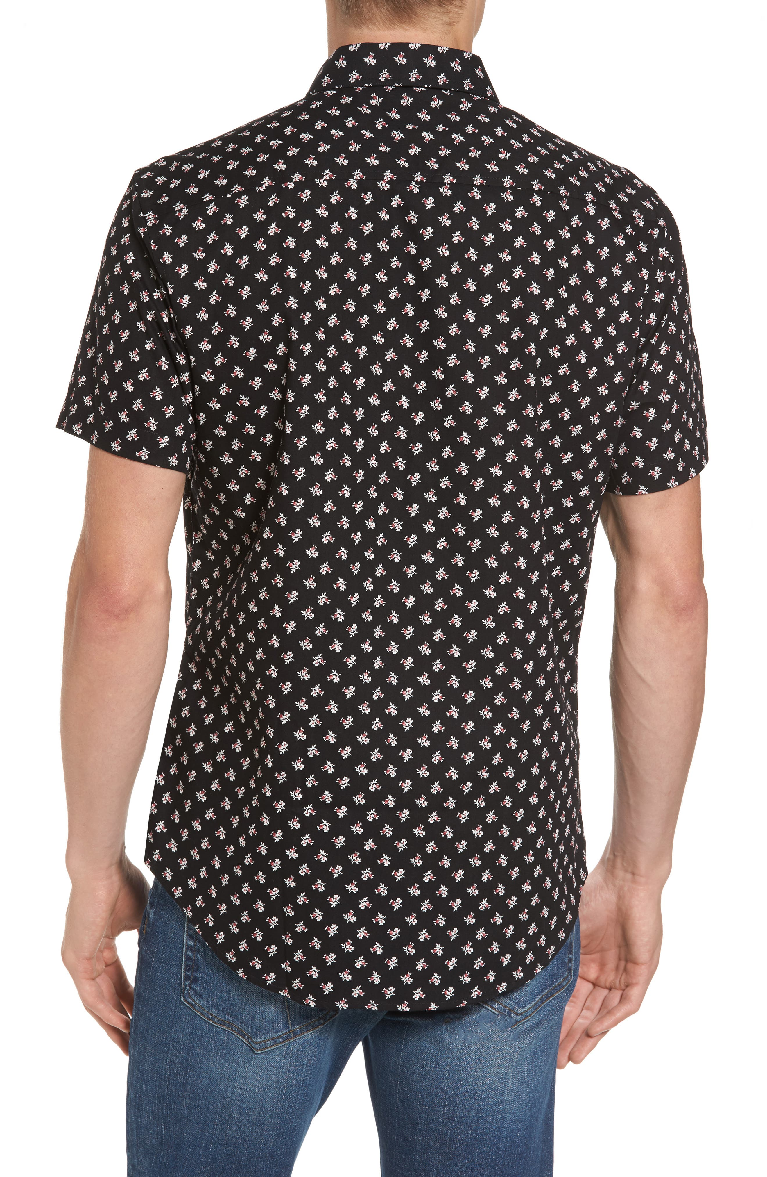 Shadow Dancing Print Woven Shirt,                             Alternate thumbnail 2, color,                             Black