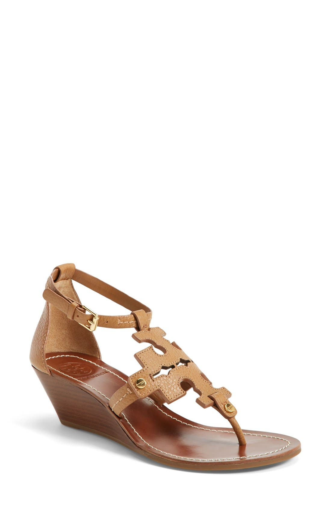 Alternate Image 1 Selected - Tory Burch 'Chandler' Wedge Leather Sandal (Women)