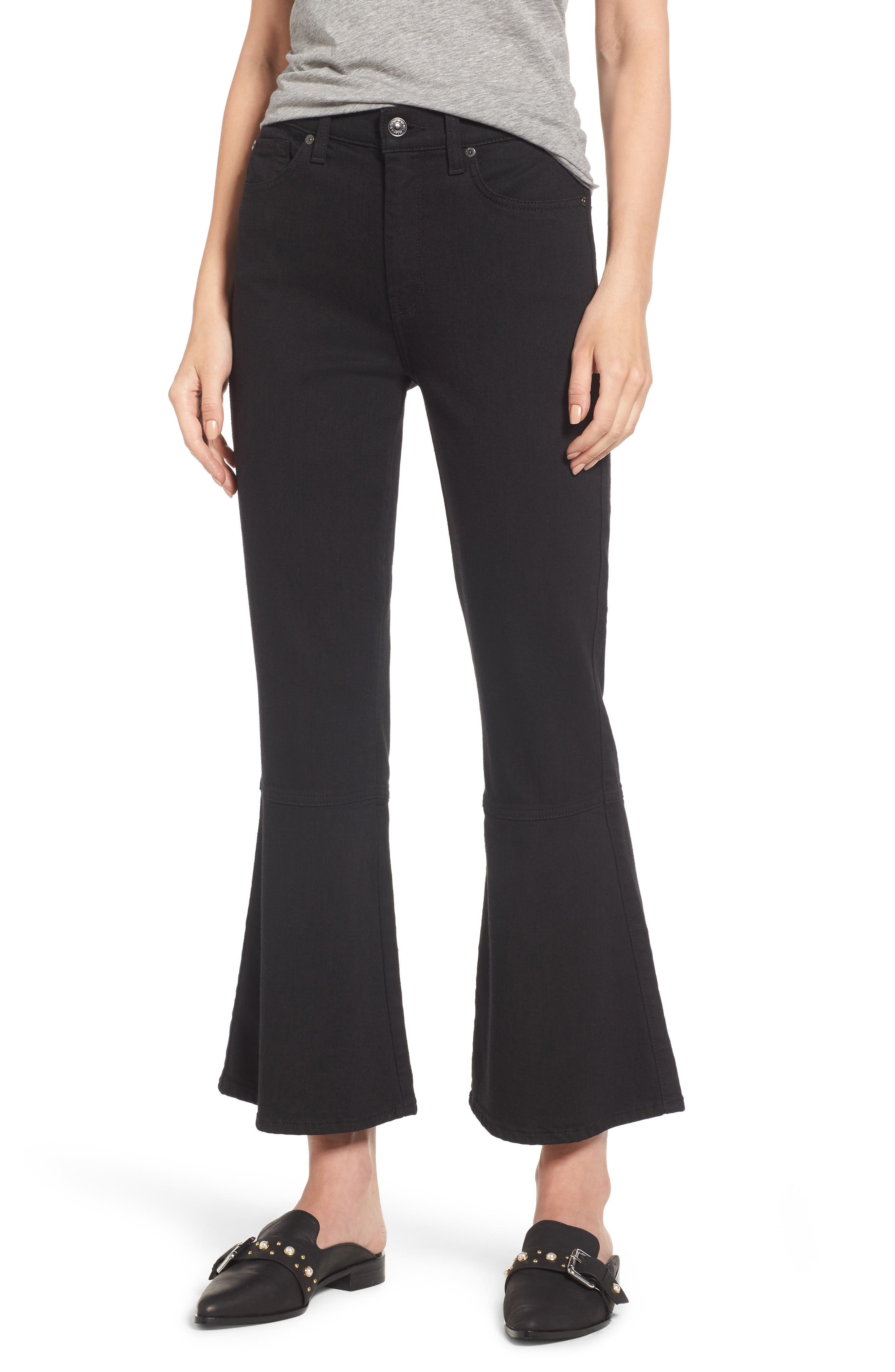 Priscilla High Waist Crop Flare Jeans,                             Main thumbnail 1, color,                             Night Black