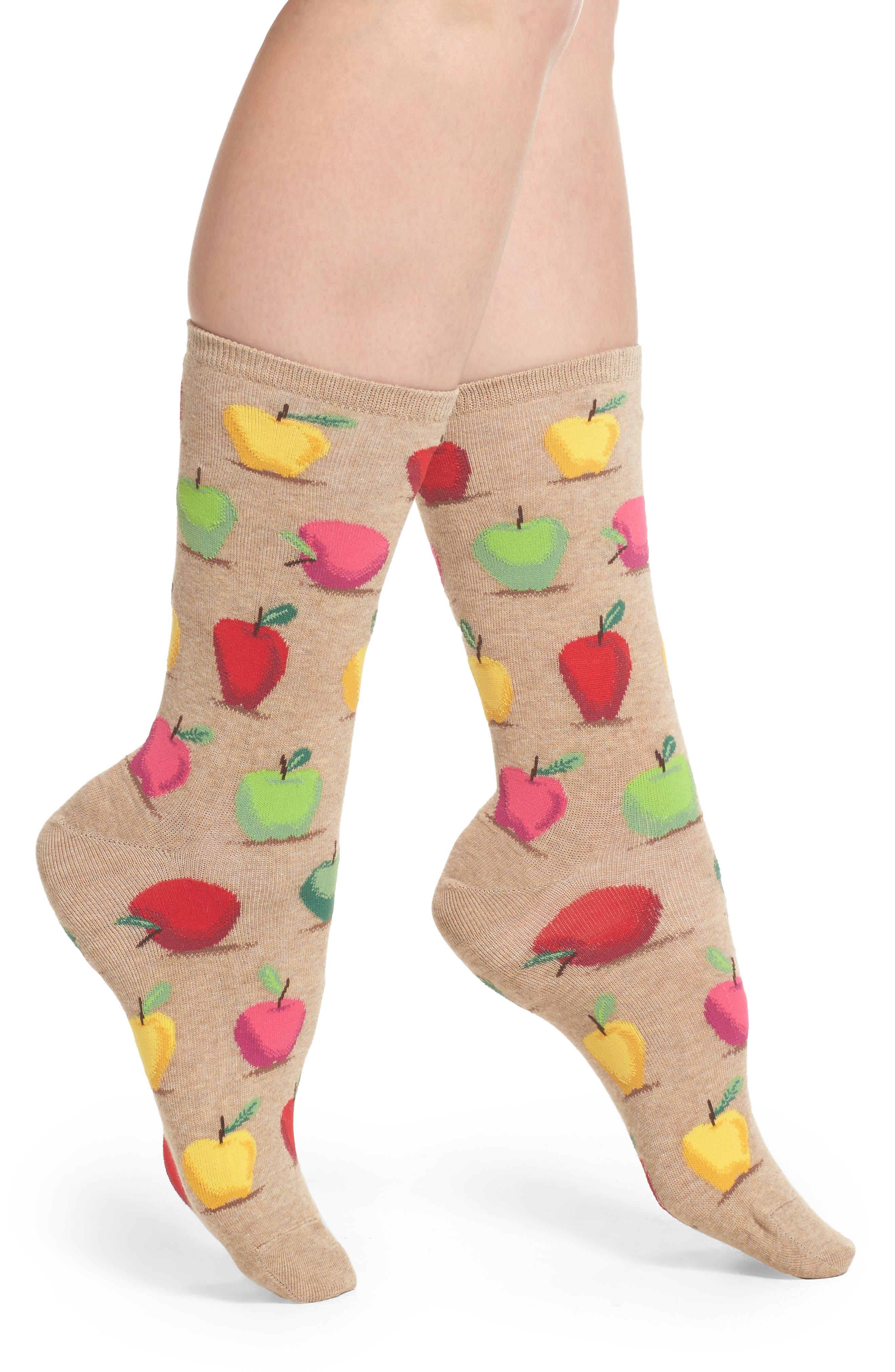 Hot Sox Apples Crew Socks (3 for $15)