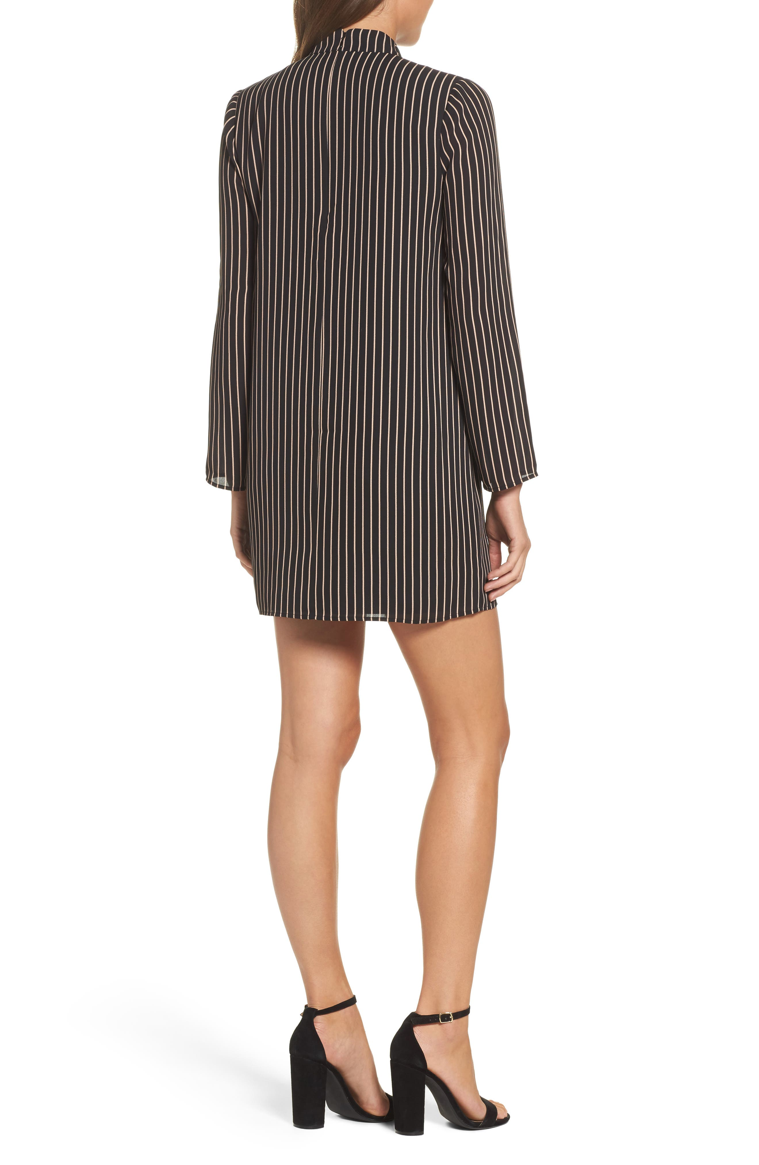 She-E-O Shift Dress,                             Alternate thumbnail 2, color,                             Black/ Tan Stripe