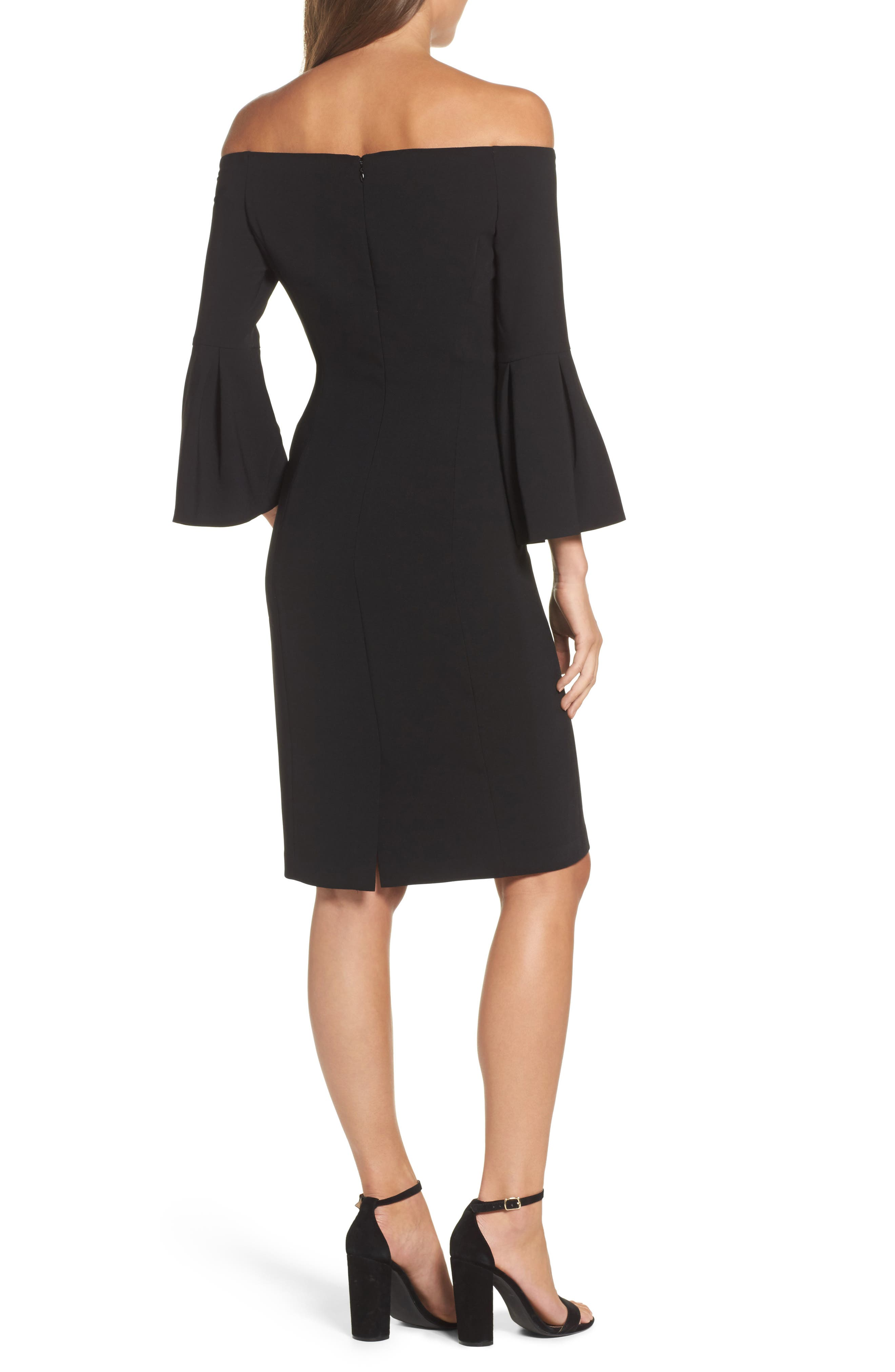 Off the Shoulder Bell Sleeve Sheath Dress,                             Alternate thumbnail 2, color,                             Black