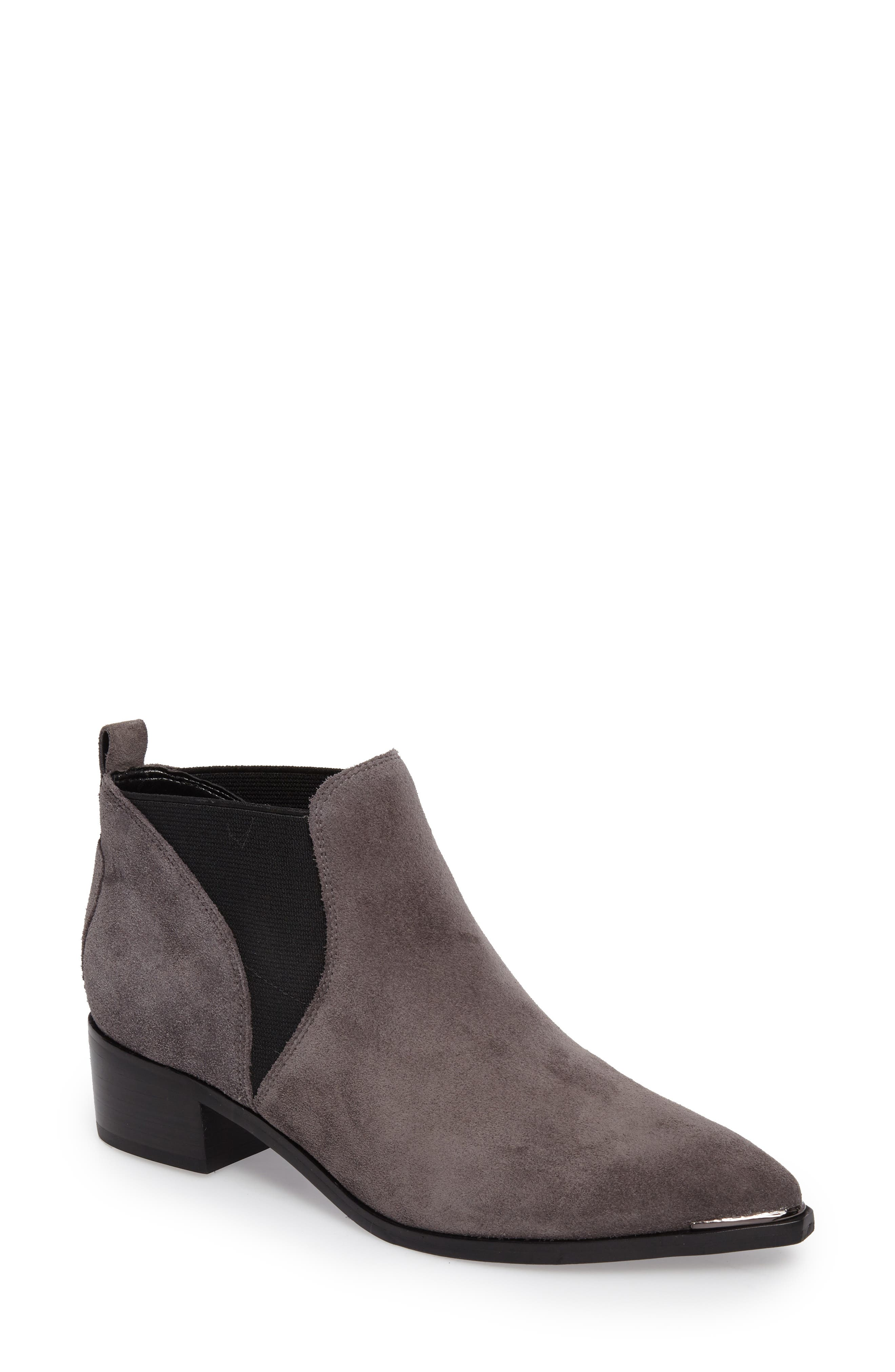 Yellin Pointy Toe Chelsea Boot,                             Main thumbnail 1, color,                             Dark Grey Suede
