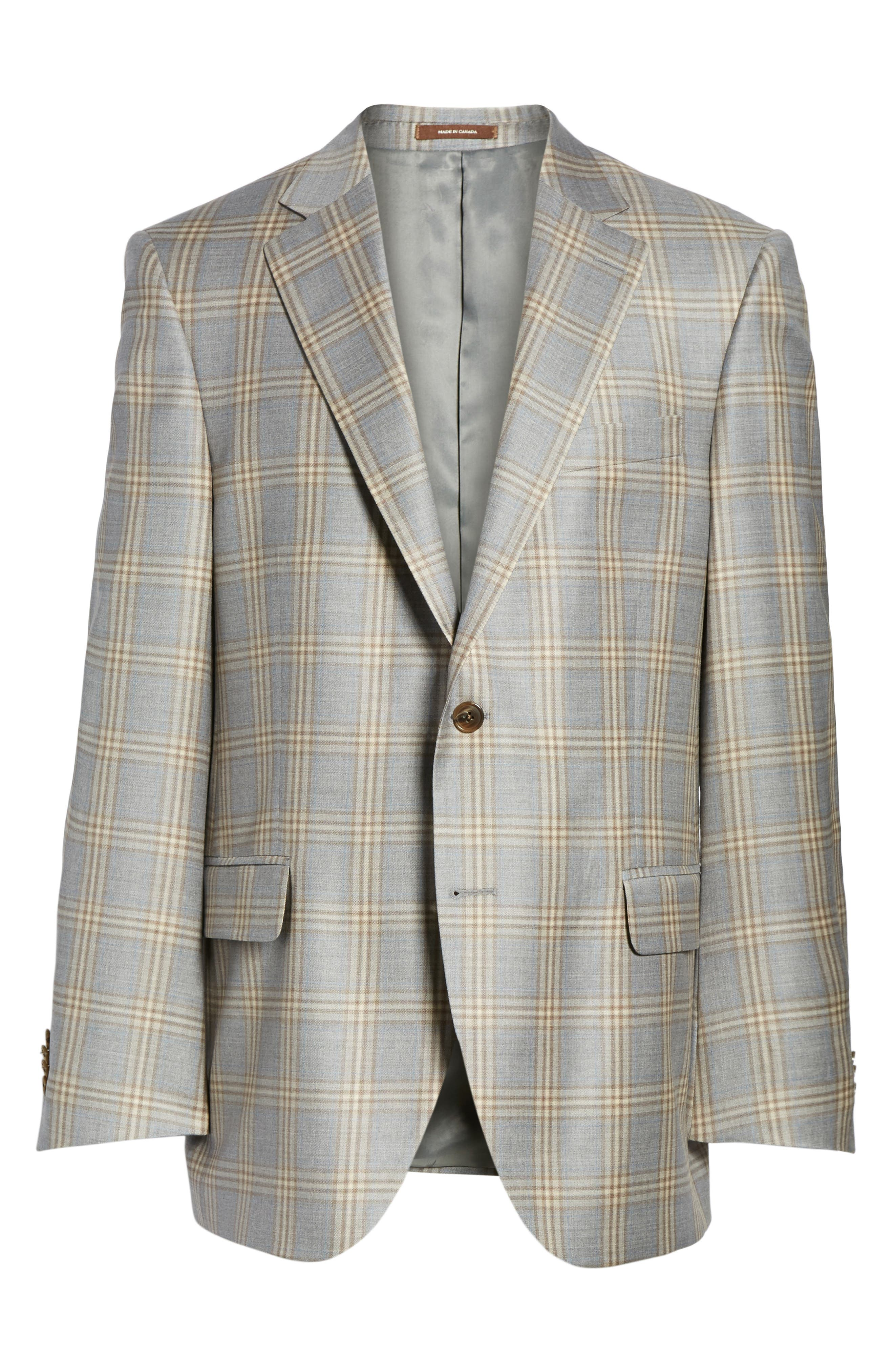 Flynn Classic Fit Plaid Wool Sport Coat,                             Alternate thumbnail 6, color,                             Grey
