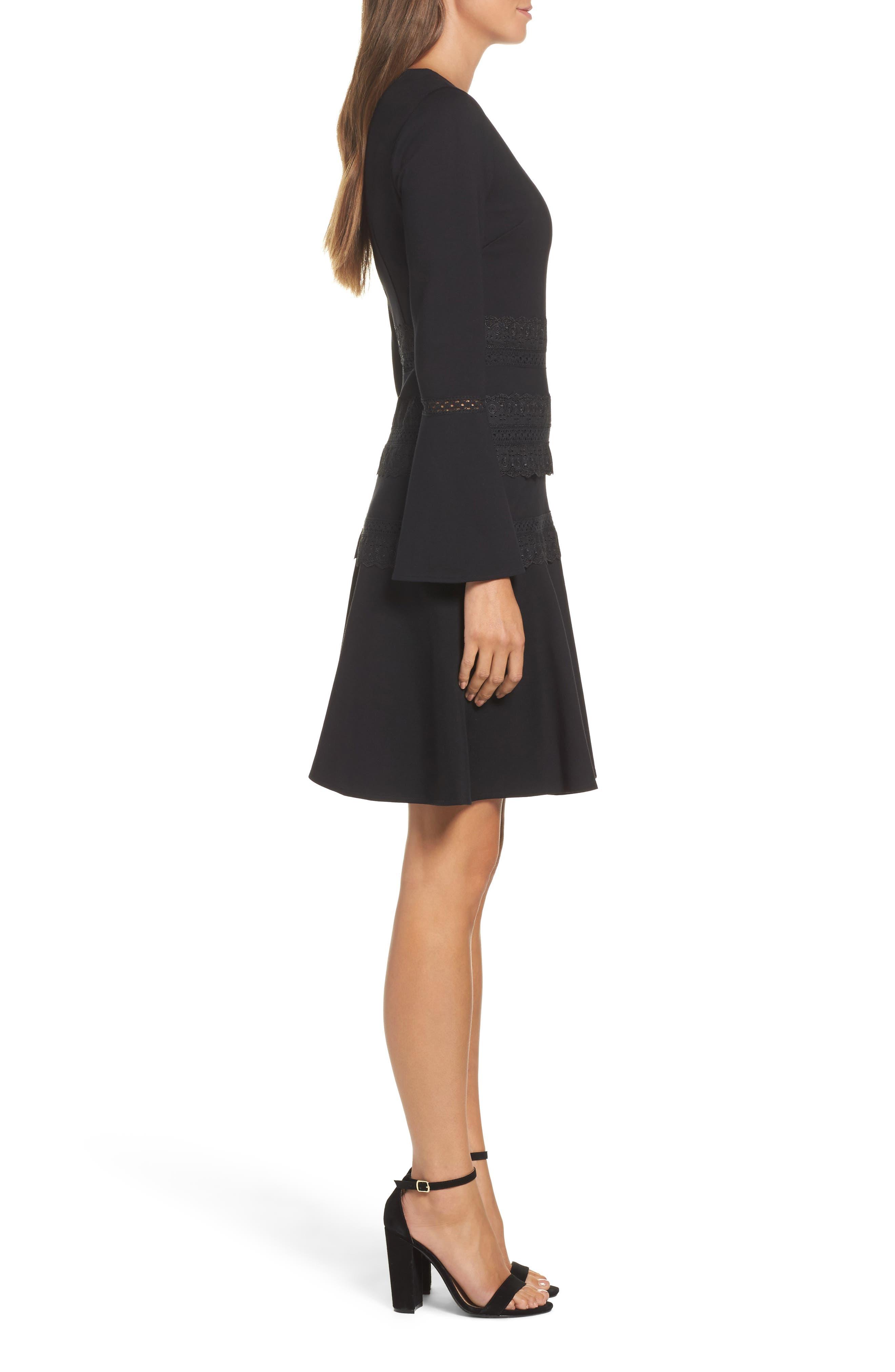 Preslie Double Knit A-Line Dress,                             Alternate thumbnail 3, color,                             Black
