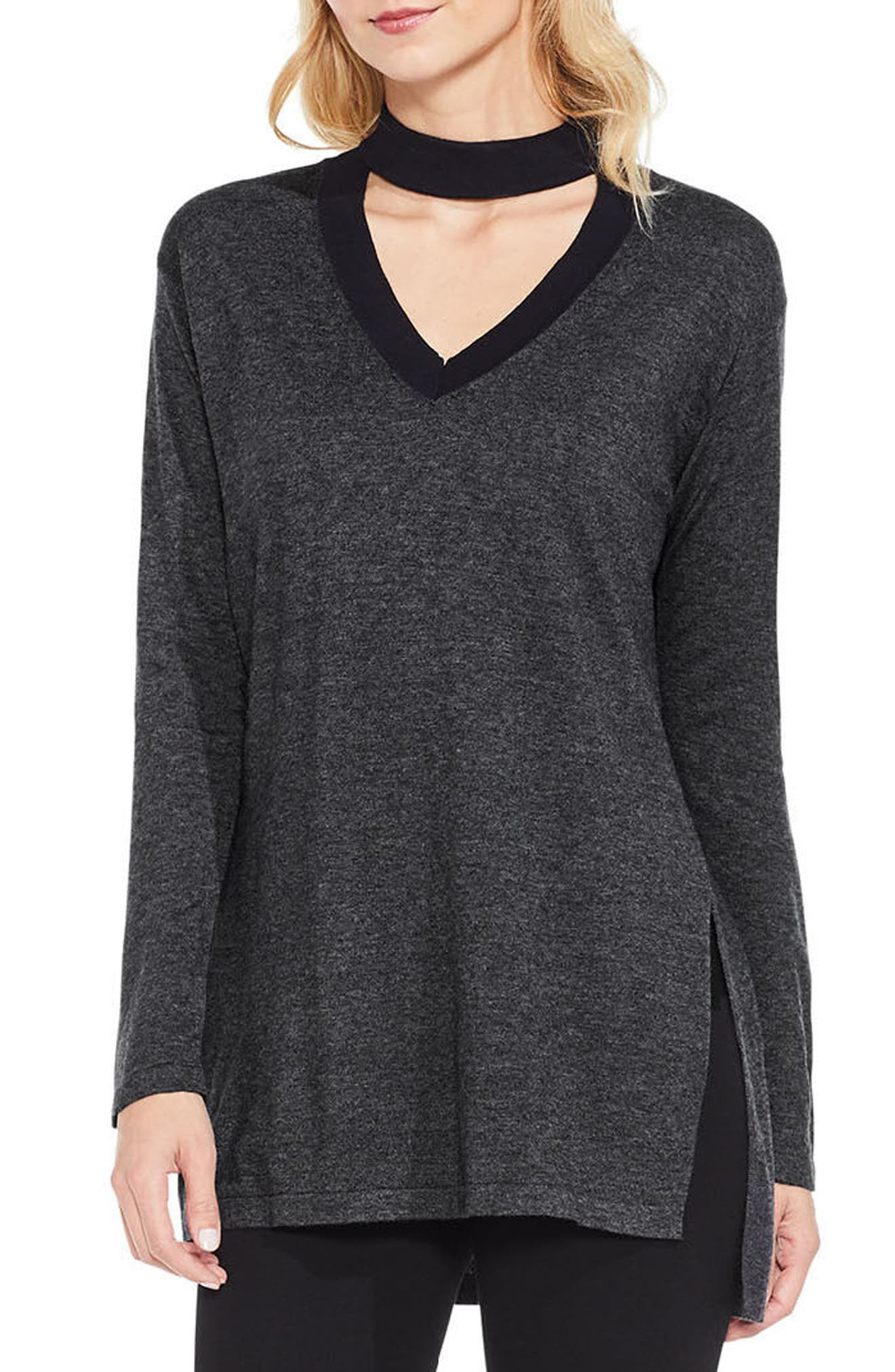 Alternate Image 1 Selected - Vince Camuto Choker V-Neck Sweater