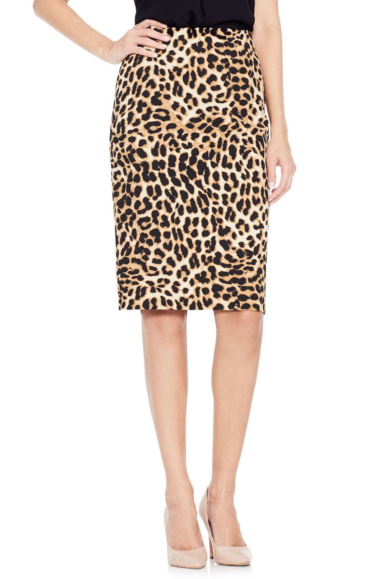 Animal Print Pencil Skirt,                         Main,                         color, Rich Black