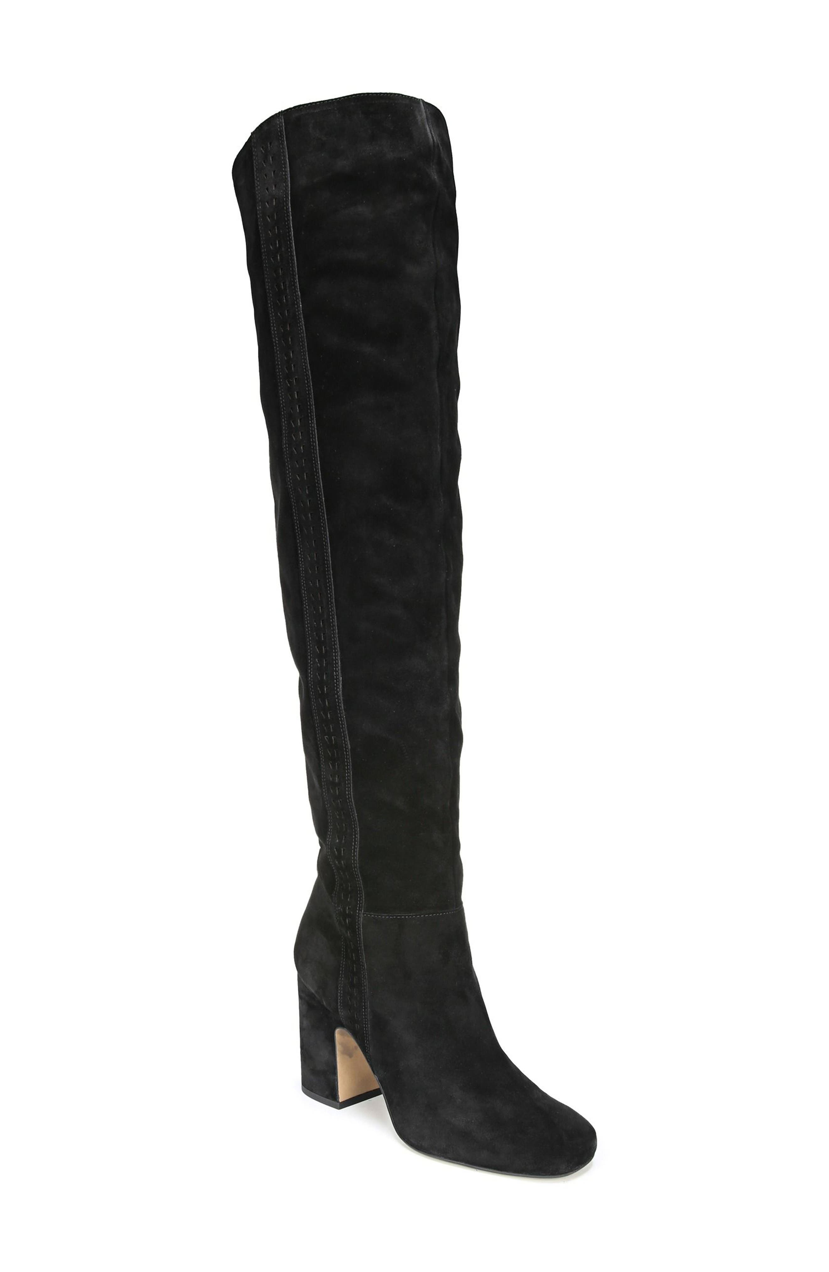Laurel Over the Knee Boot,                             Main thumbnail 1, color,                             Black Suede