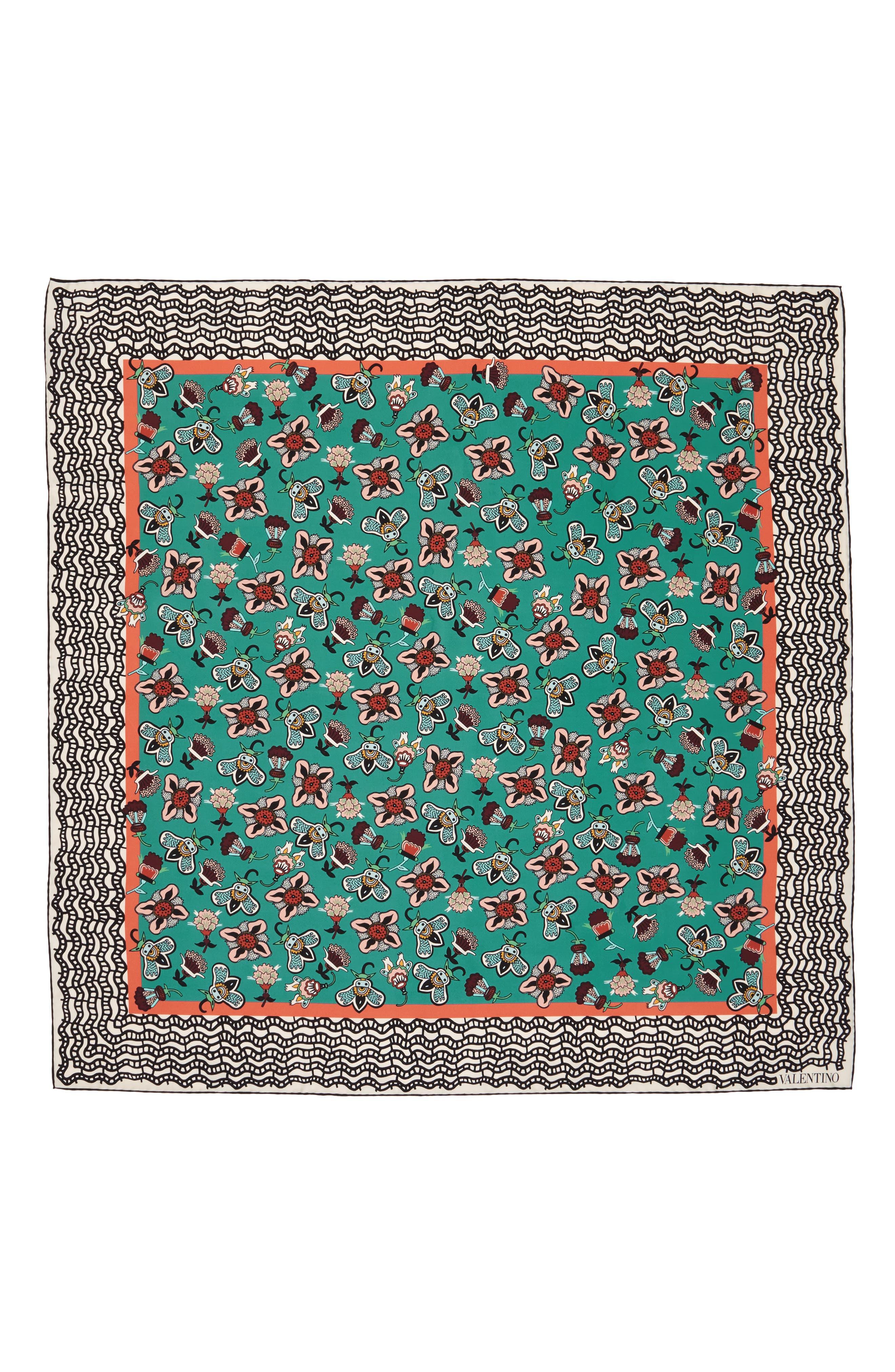 Pop Flower Silk Scarf,                         Main,                         color, Atollo