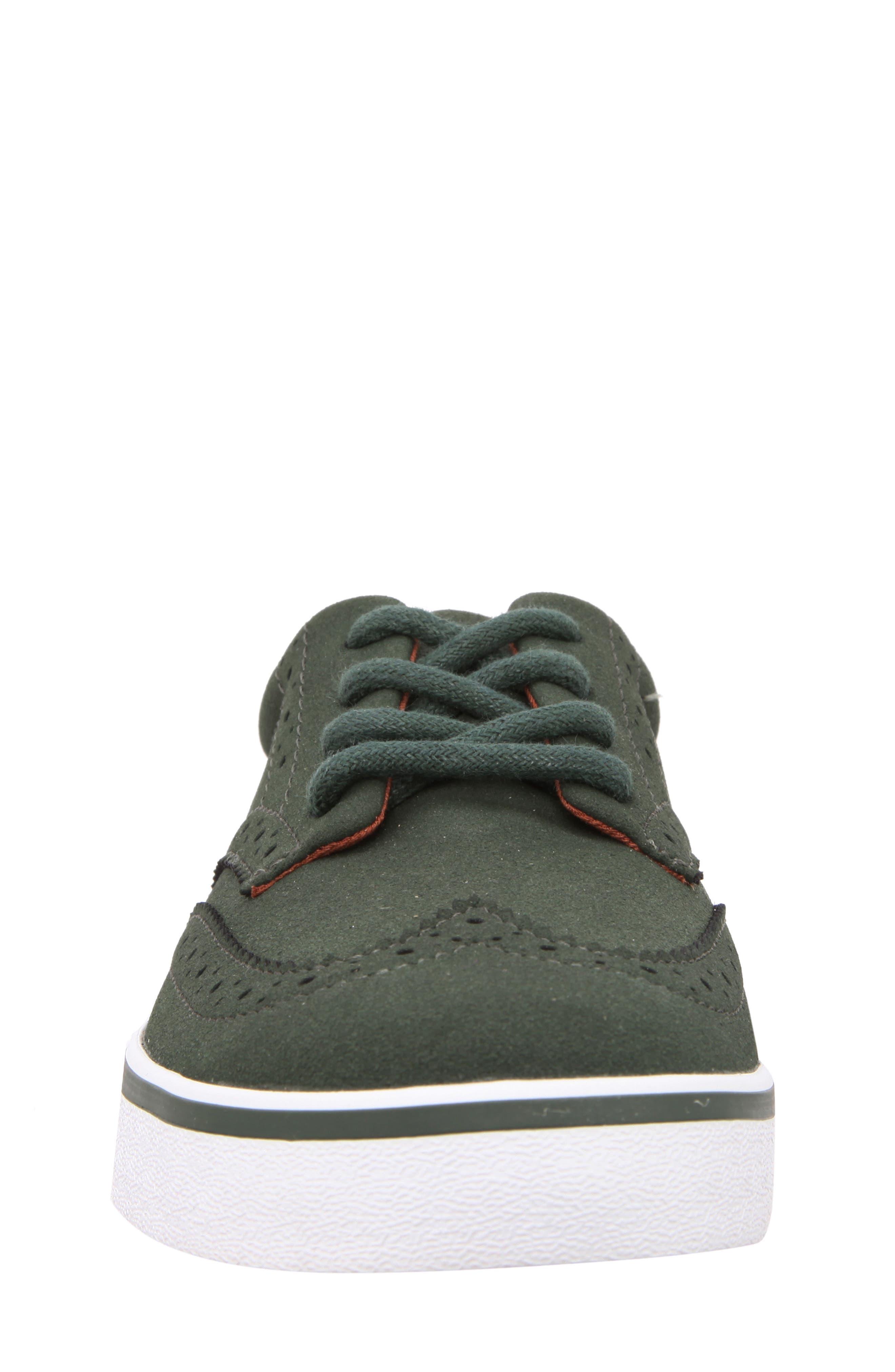 Wingtip Sneaker,                             Alternate thumbnail 4, color,                             Olive Faux Suede