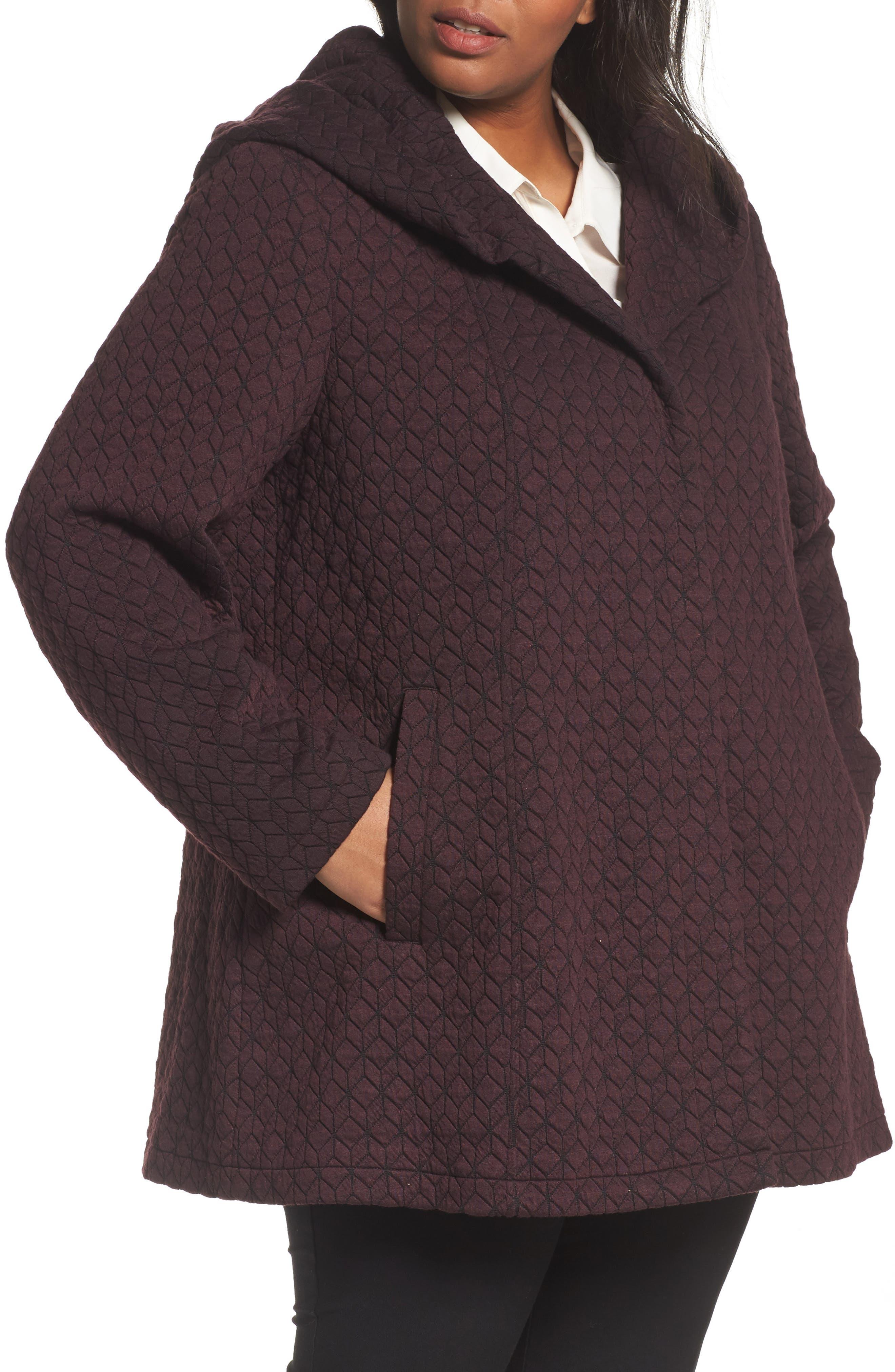 Cozy Knit Coat,                         Main,                         color, Burgundy