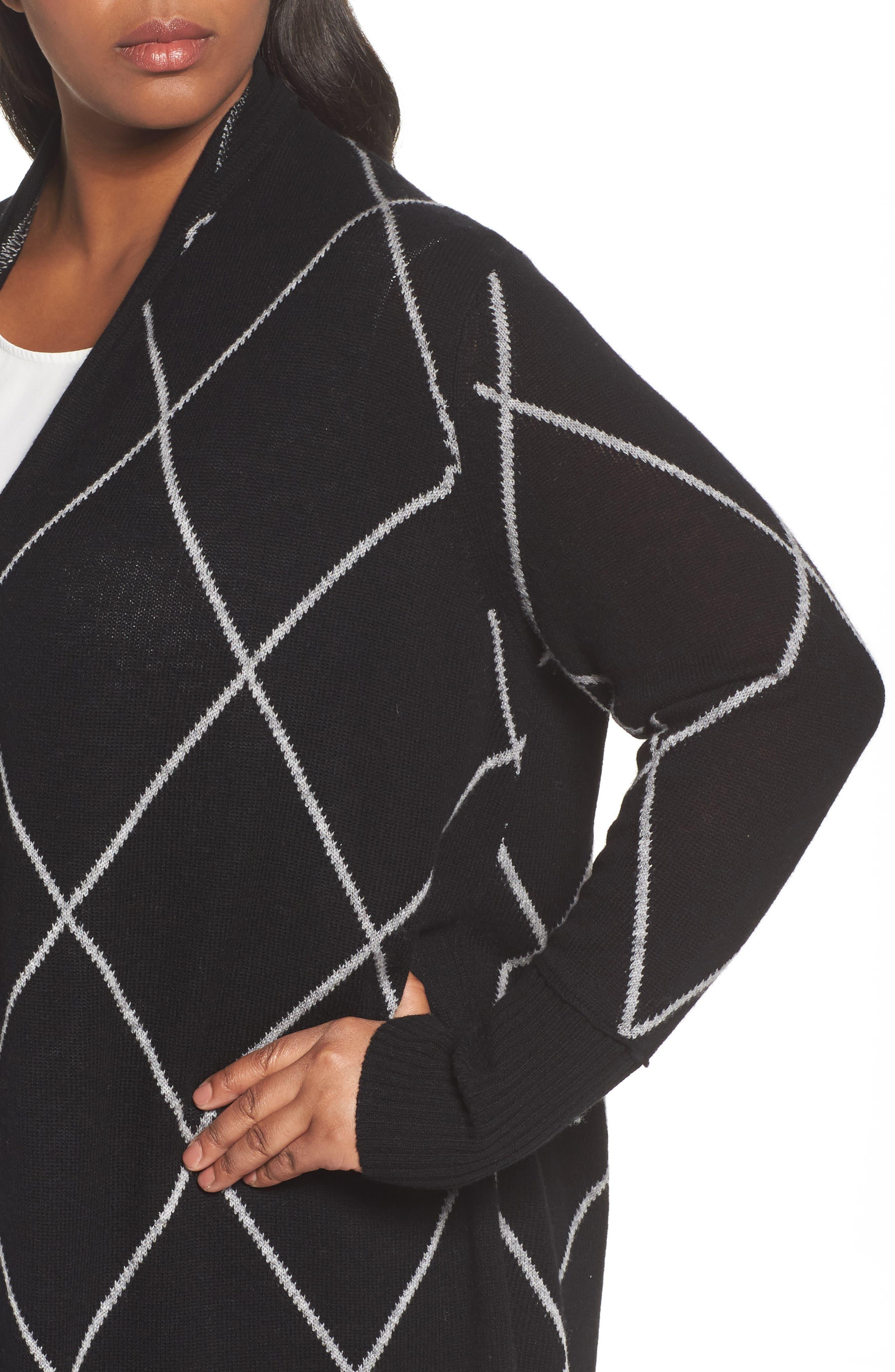 Windowpane Wool & Cashmere Cardigan,                             Alternate thumbnail 5, color,                             Black Windowpane