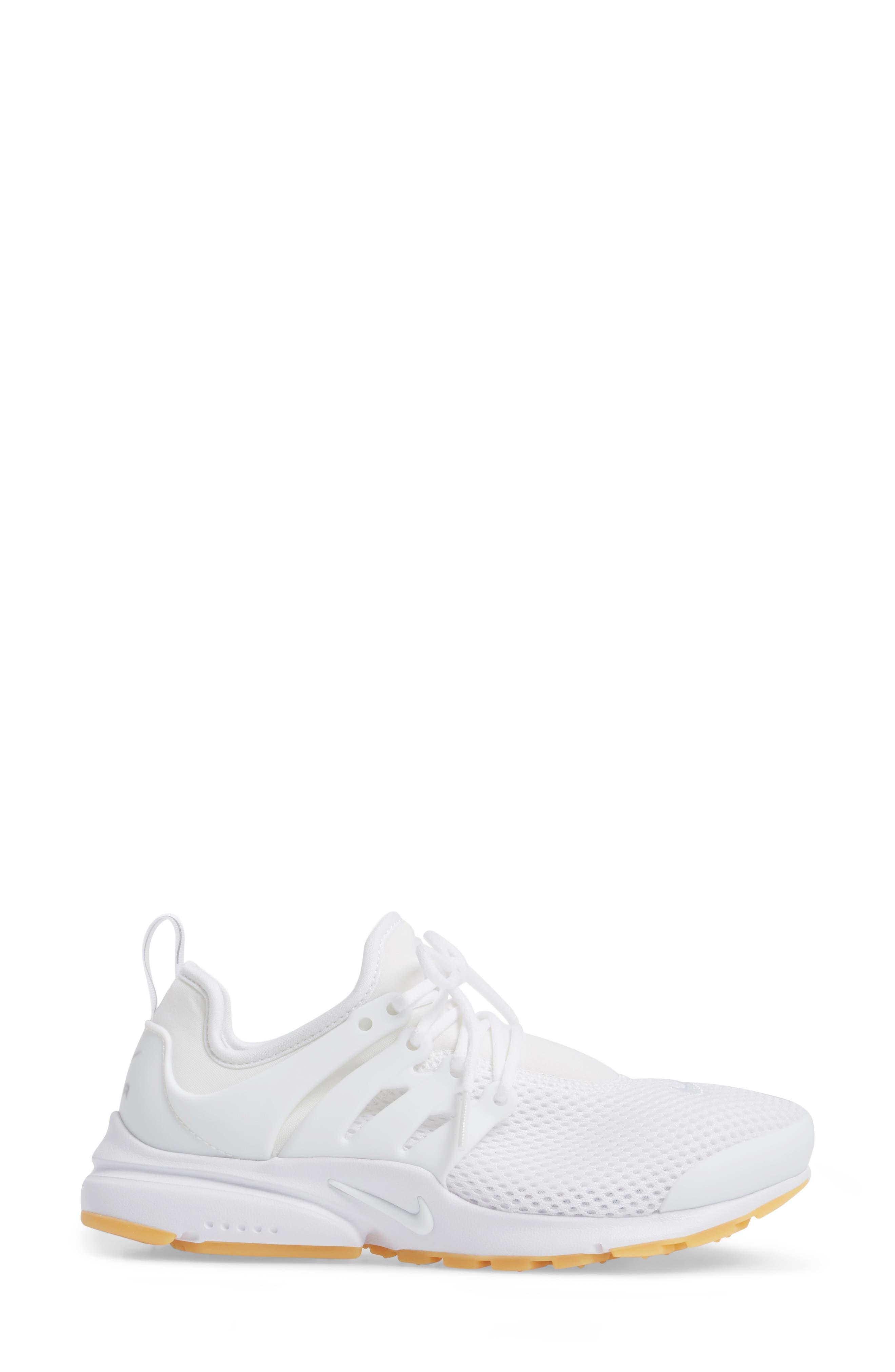 Air Presto Flyknit Ultra Sneaker,                             Alternate thumbnail 3, color,                             White/ Gum Yellow/ Wolf Grey
