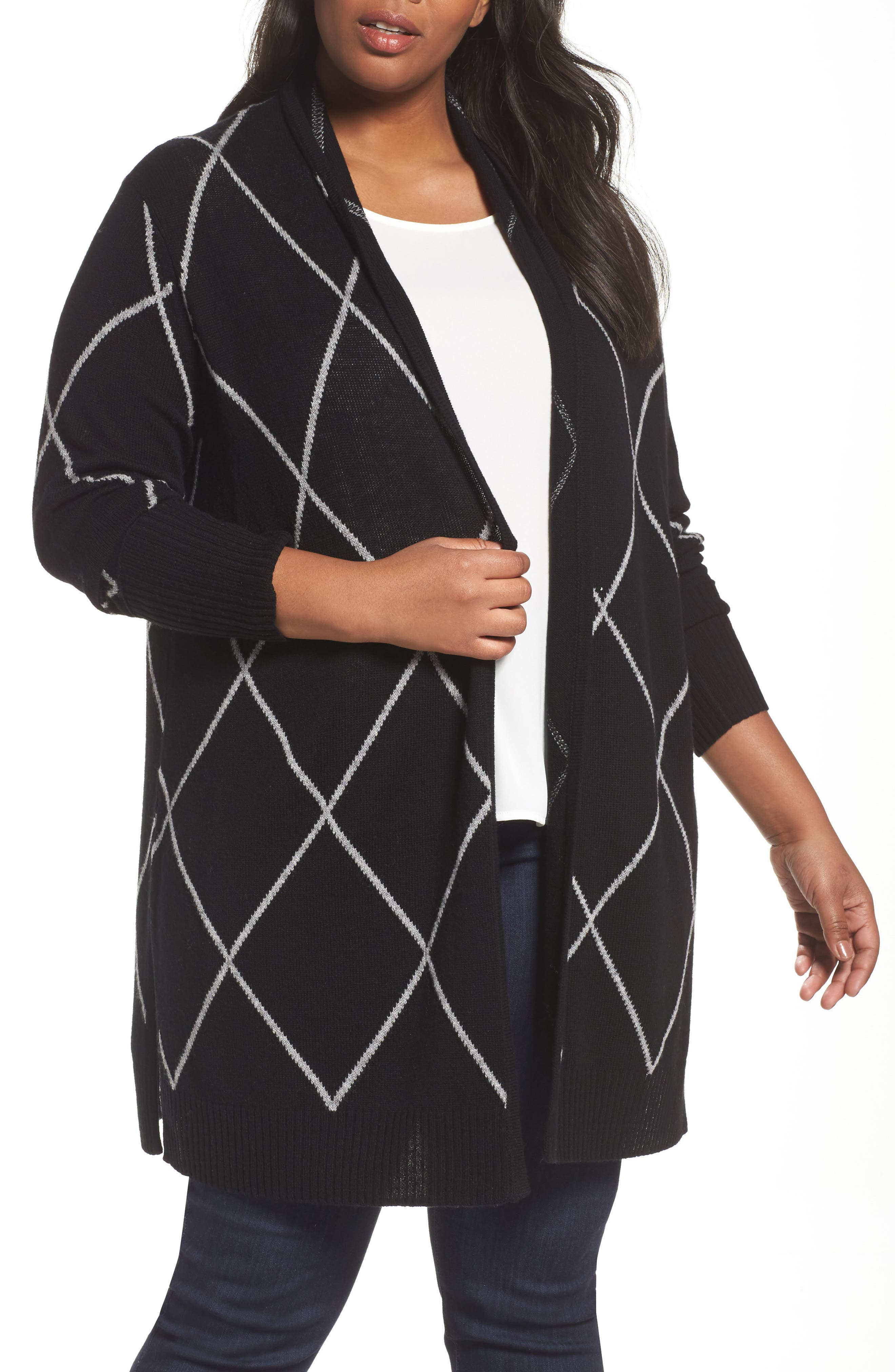 Windowpane Wool & Cashmere Cardigan,                         Main,                         color, Black Windowpane