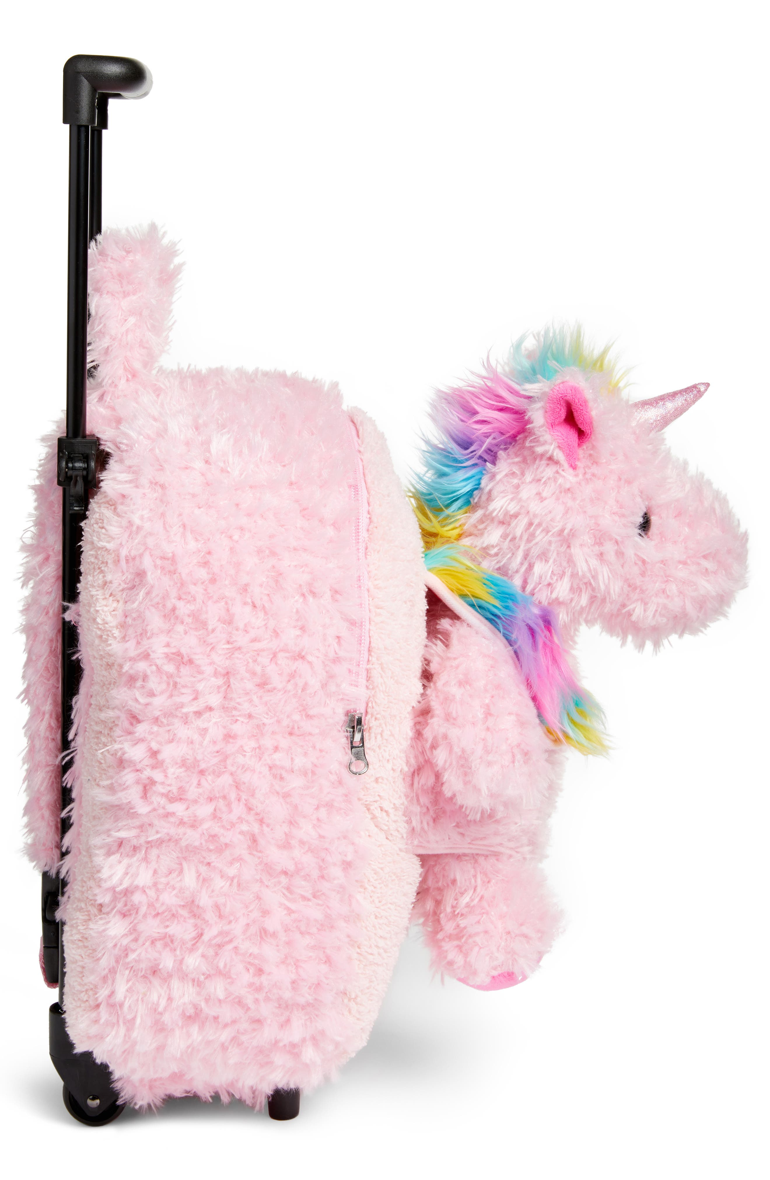 Unicorn Trolley Rolling Backpack,                             Alternate thumbnail 3, color,                             Pink Multi
