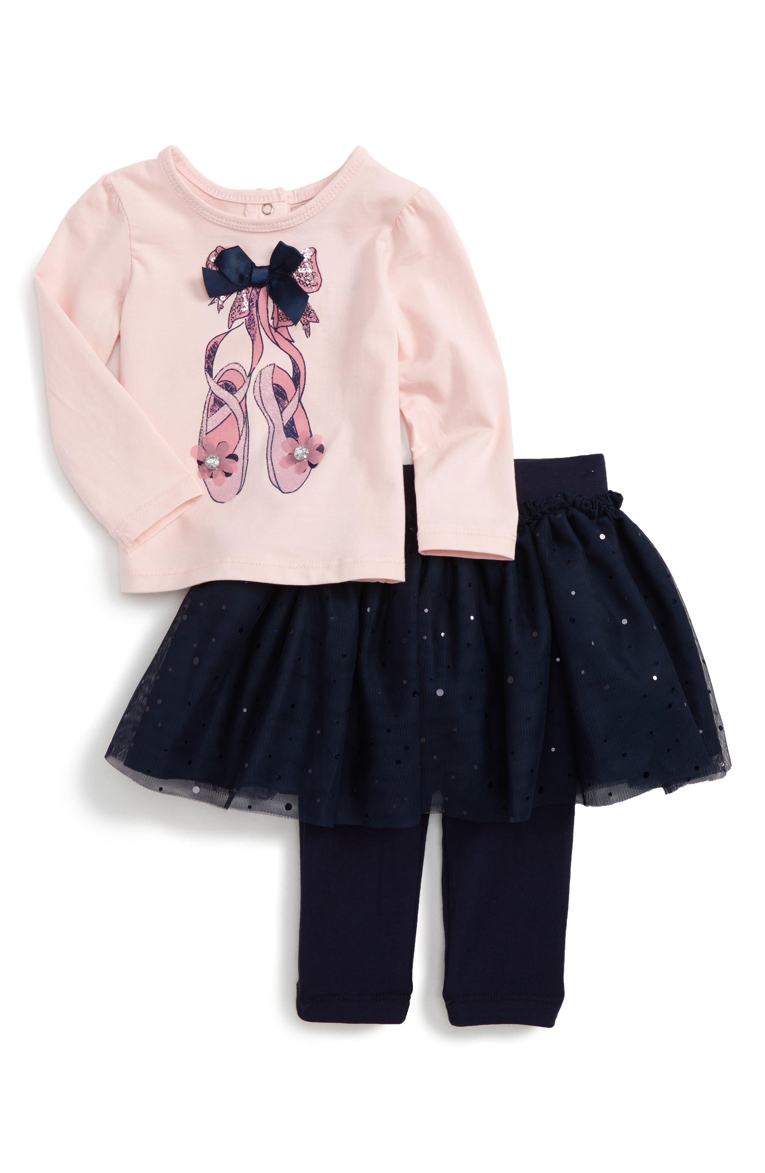 Ballet Slipper Top & Glitter Tutu Skirt Leggings,                         Main,                         color, Pink