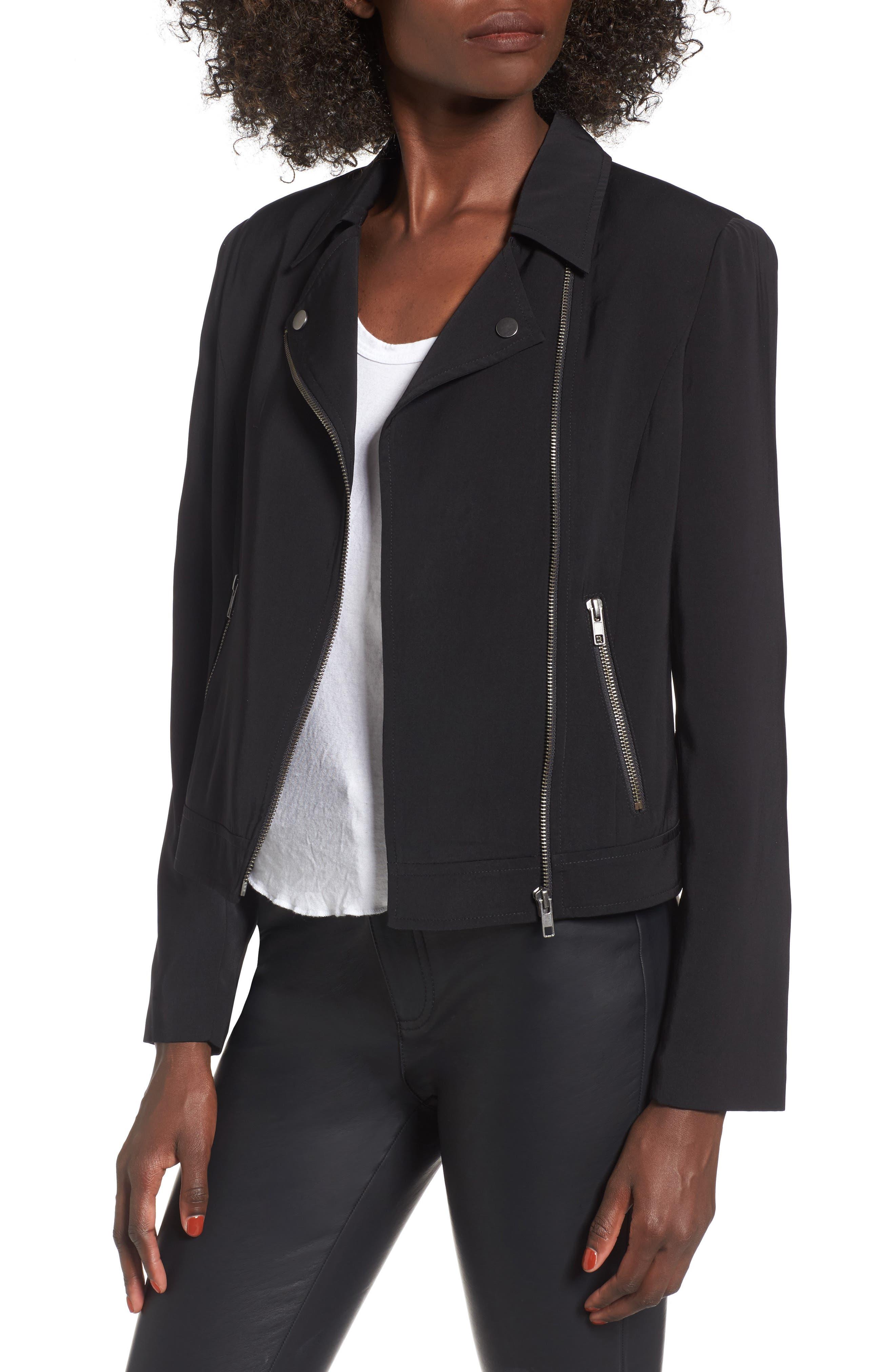 Lightweight Moto Jacket,                         Main,                         color, Black