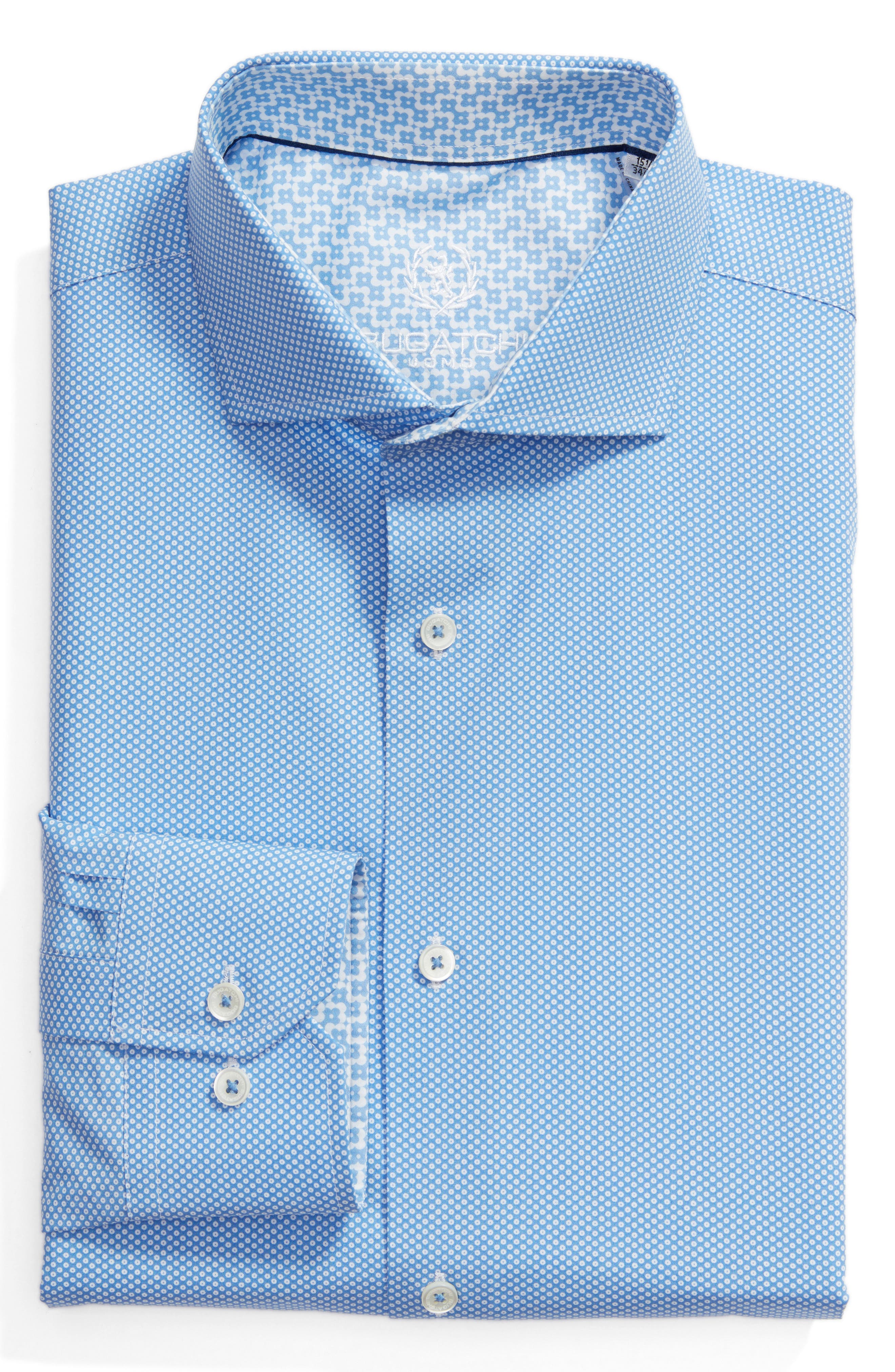 Trim Fit Print Dress Shirt,                         Main,                         color, Classic Blue