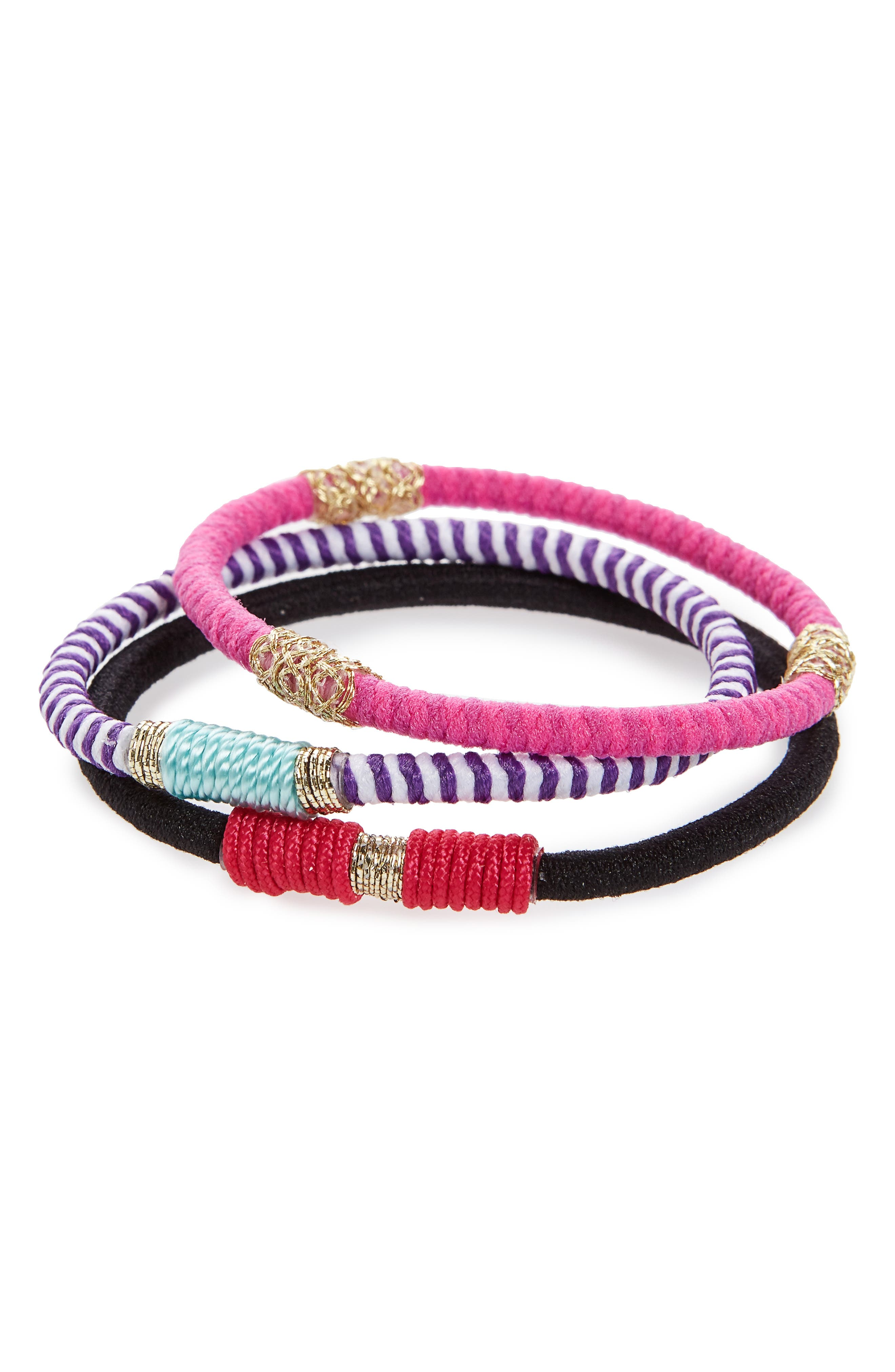 Moroccan Set of 3 Ponytail Holders,                         Main,                         color, Pink/ Purple Multi