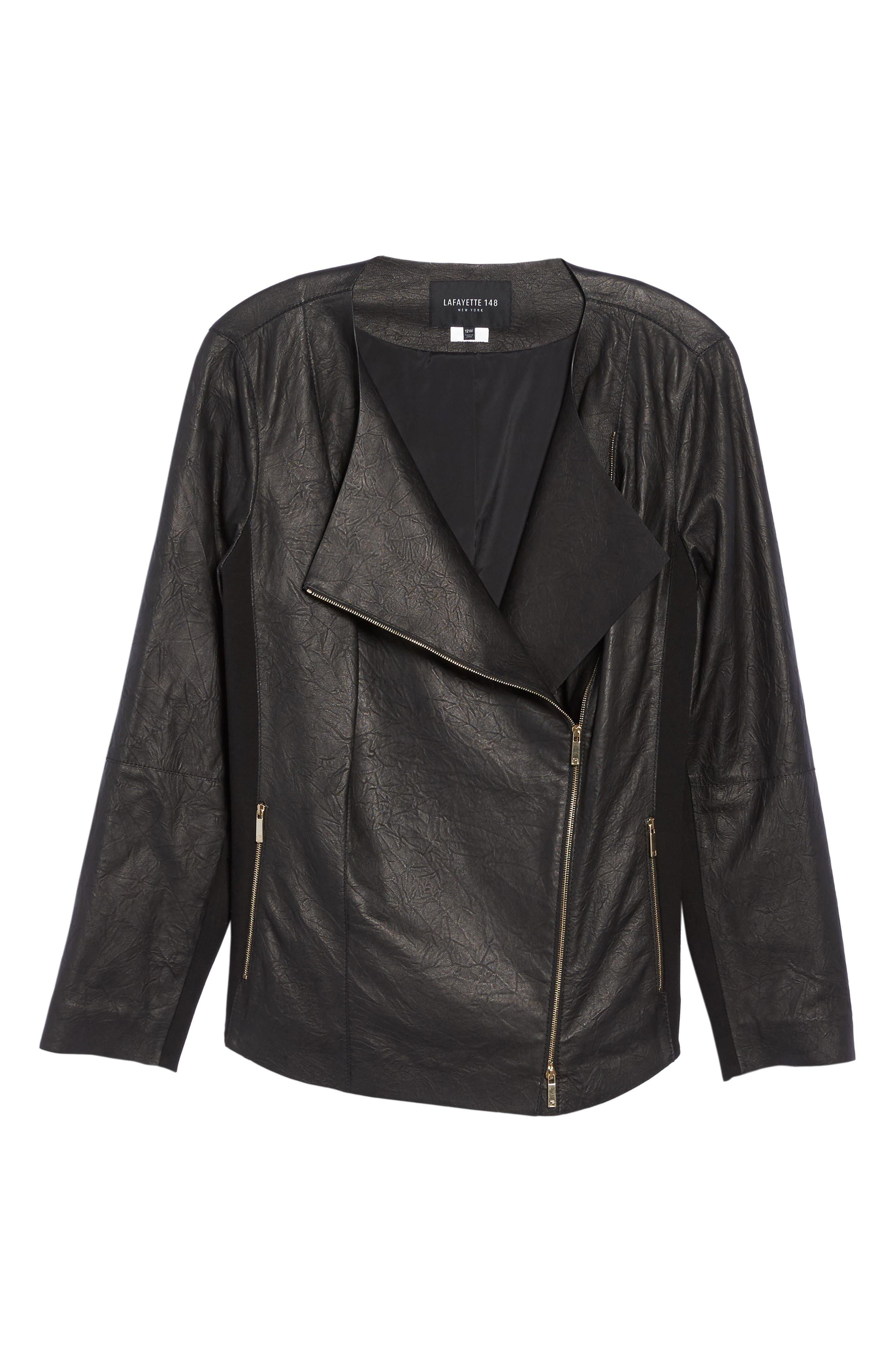 Aimes Leather Jacket,                             Alternate thumbnail 6, color,                             Black