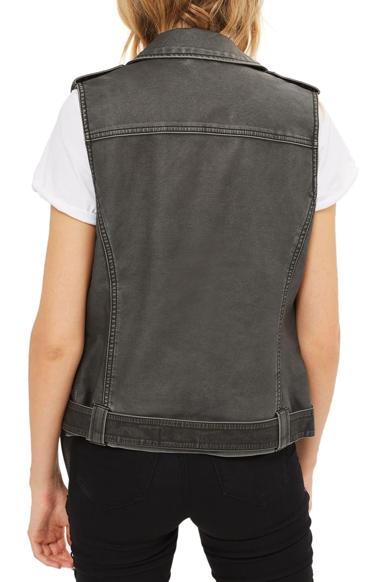 Blaze Faux Leather Biker Vest,                             Alternate thumbnail 2, color,                             Washed Black
