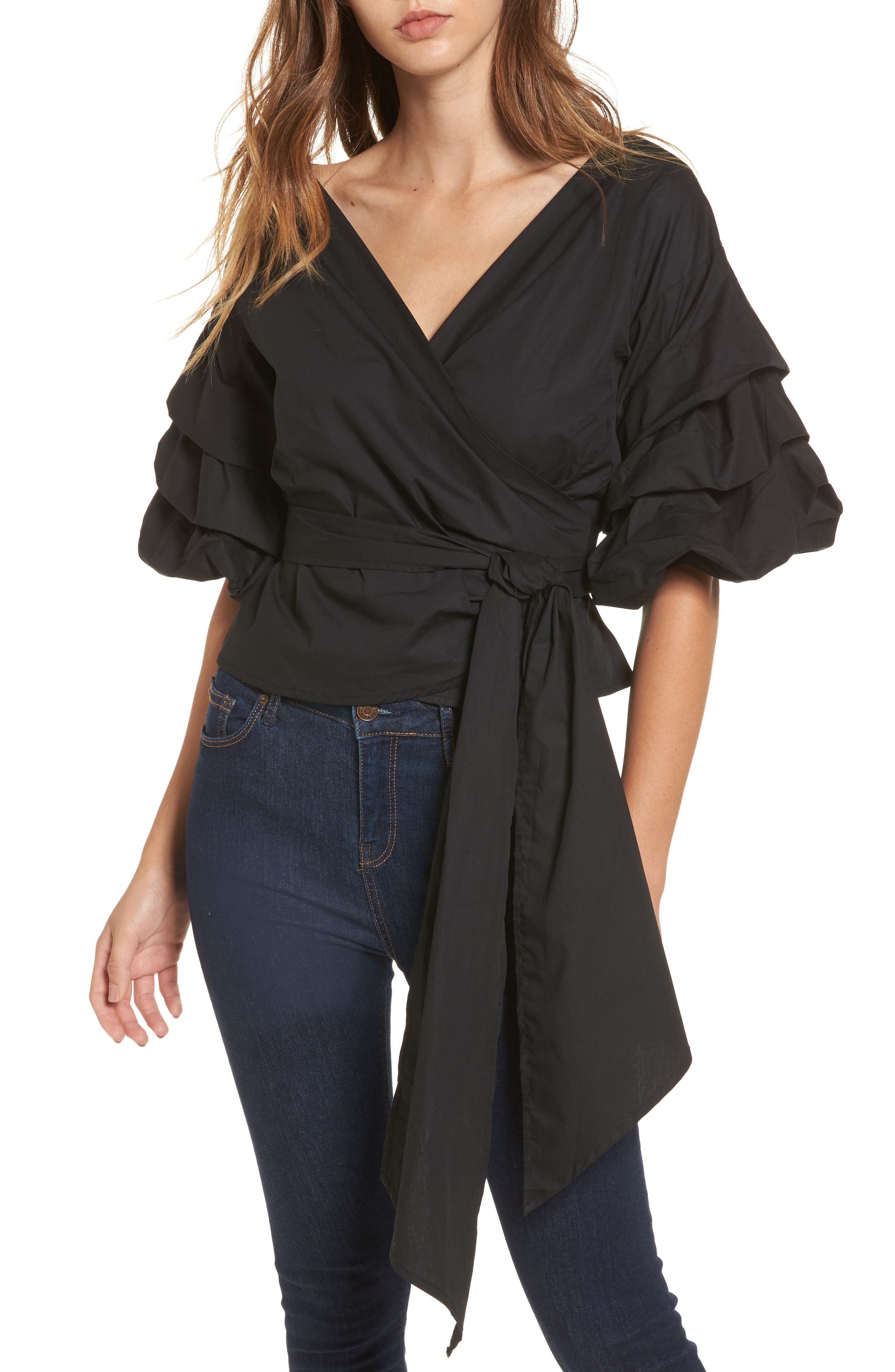 Esmerelda Wrap Top,                             Main thumbnail 1, color,                             Black