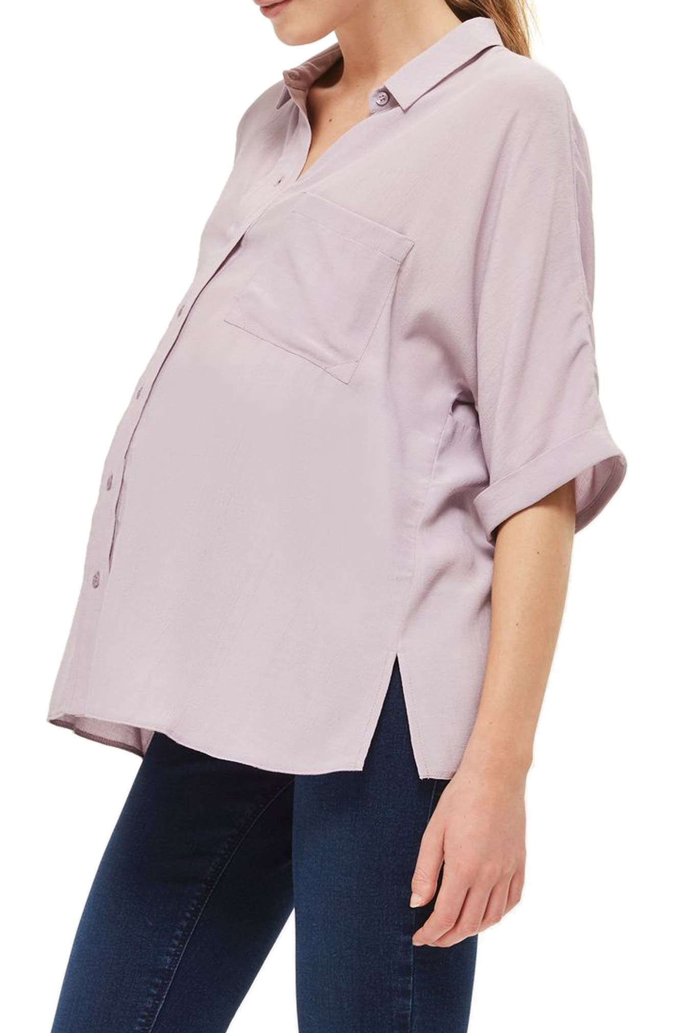 Kady Roll Sleeve Maternity Top,                             Alternate thumbnail 2, color,                             Lilac