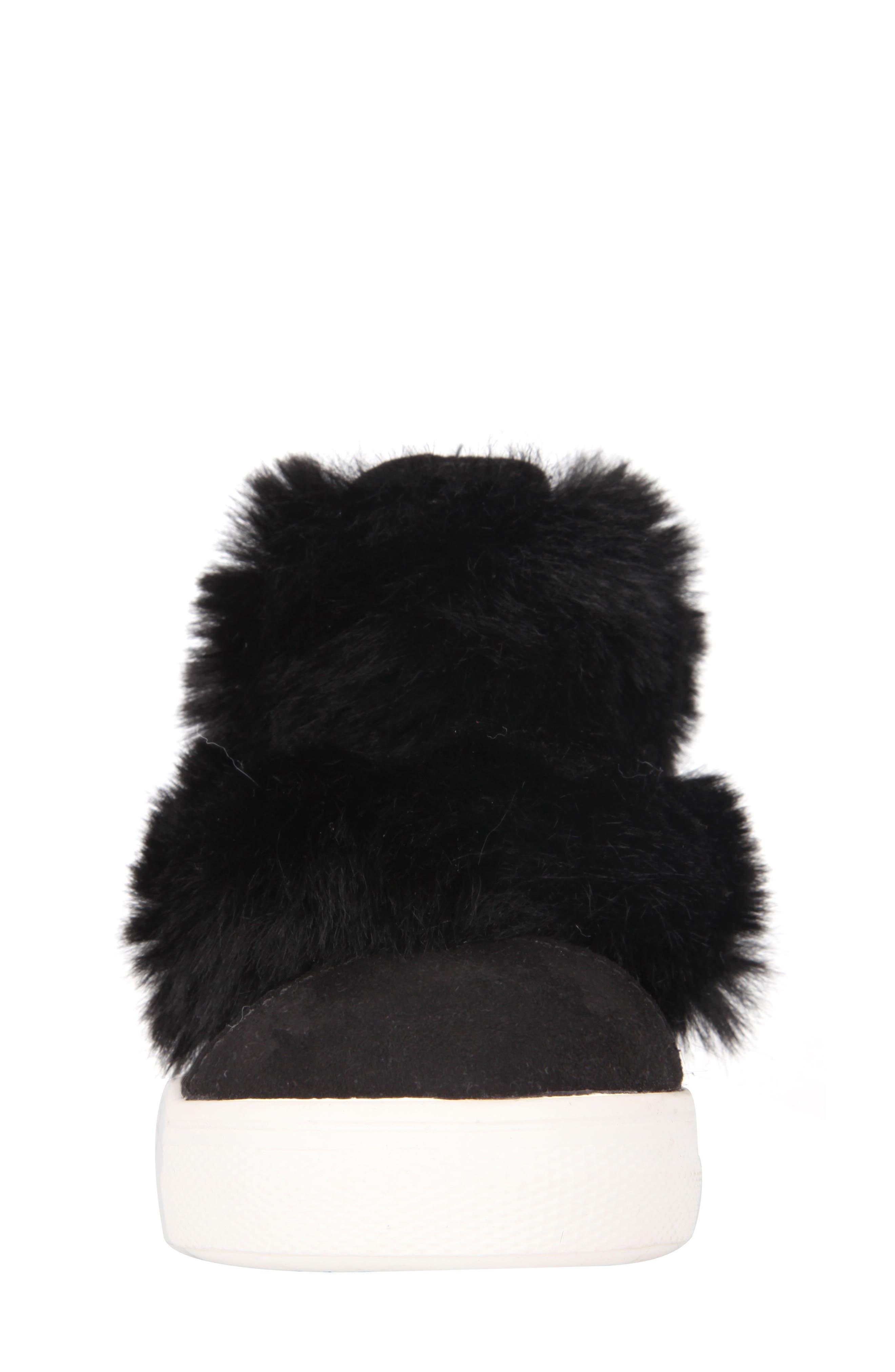 Helen Faux Fur Bootie Sneaker,                             Alternate thumbnail 4, color,                             Black Microsuede