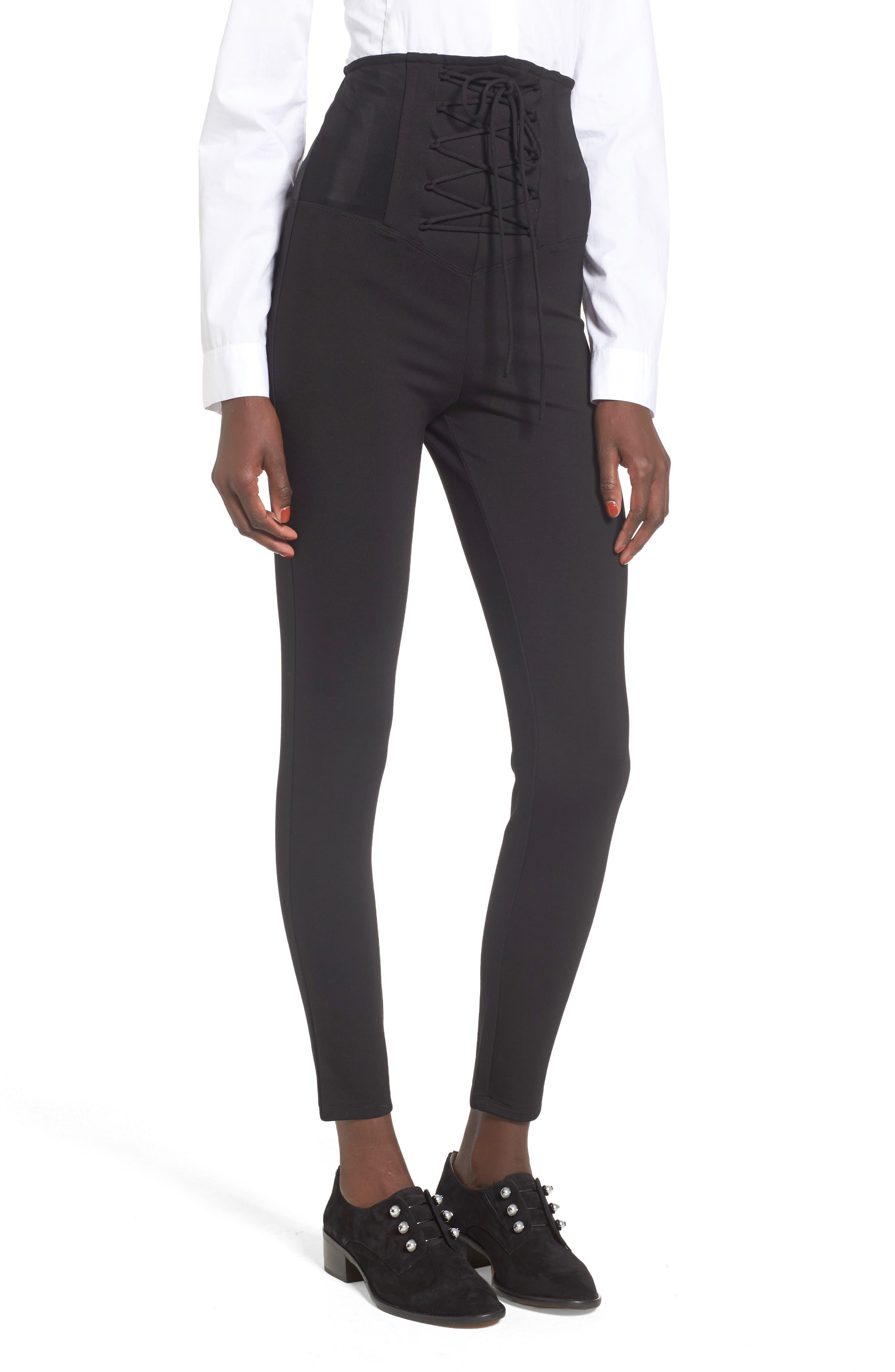 High Waist Lace-Up Pants,                         Main,                         color, Black