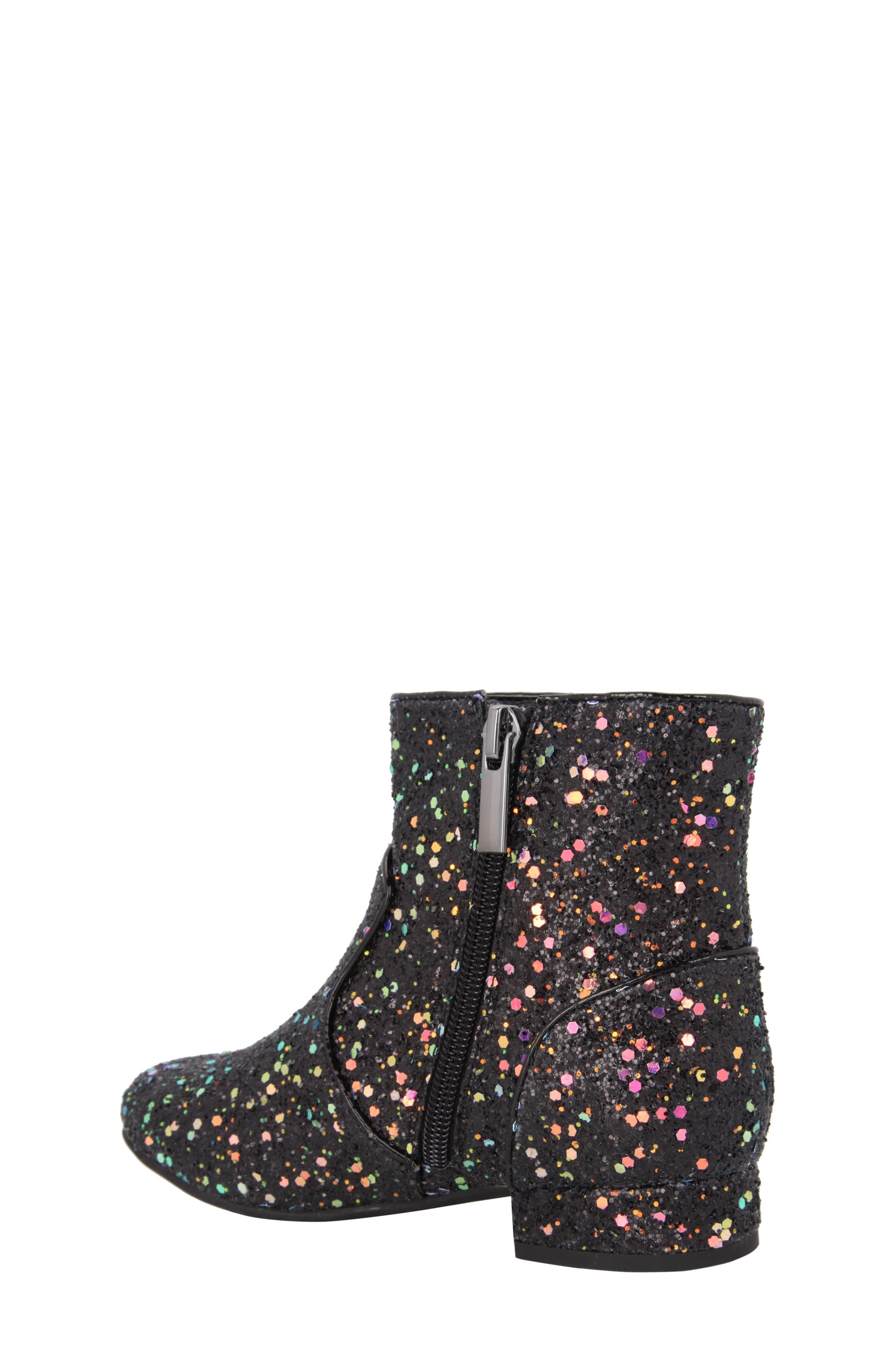 Amy Multicolor Glitter Bootie,                             Alternate thumbnail 2, color,                             Black Chunky Glitter