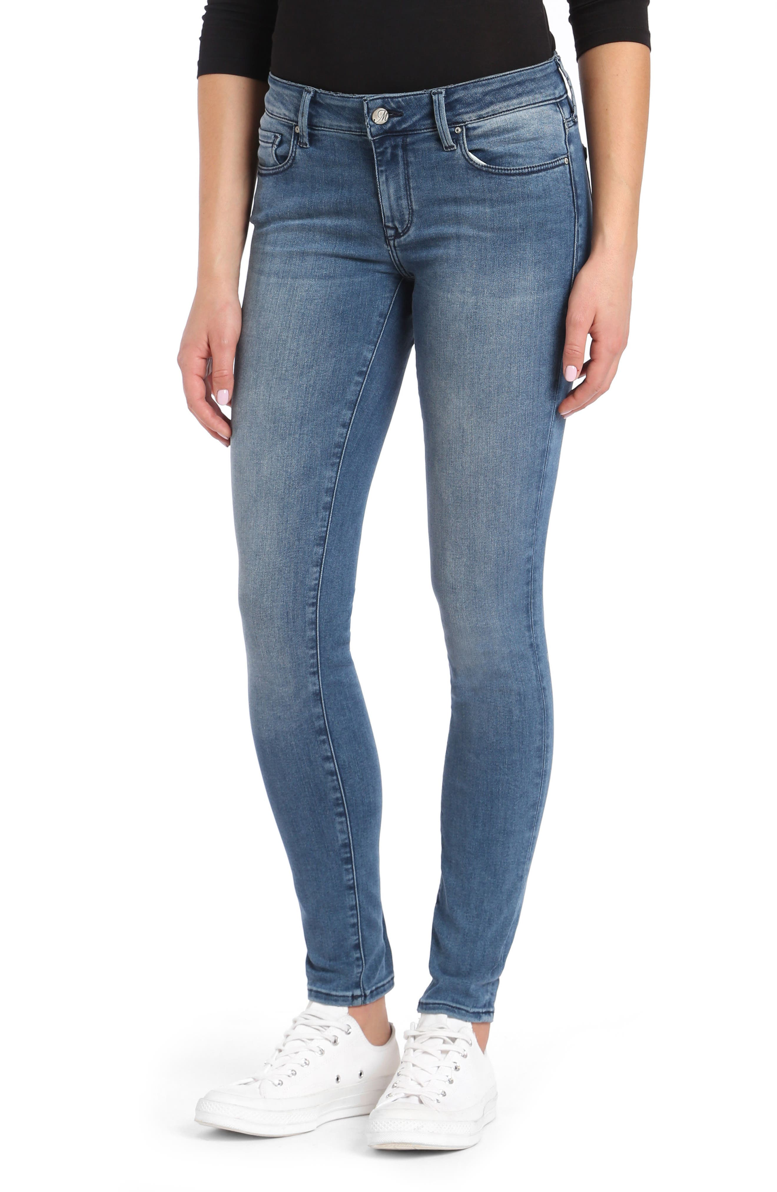 Adriana Ankle Skinny Jeans,                         Main,                         color, Light Foggy Blue Tribeca