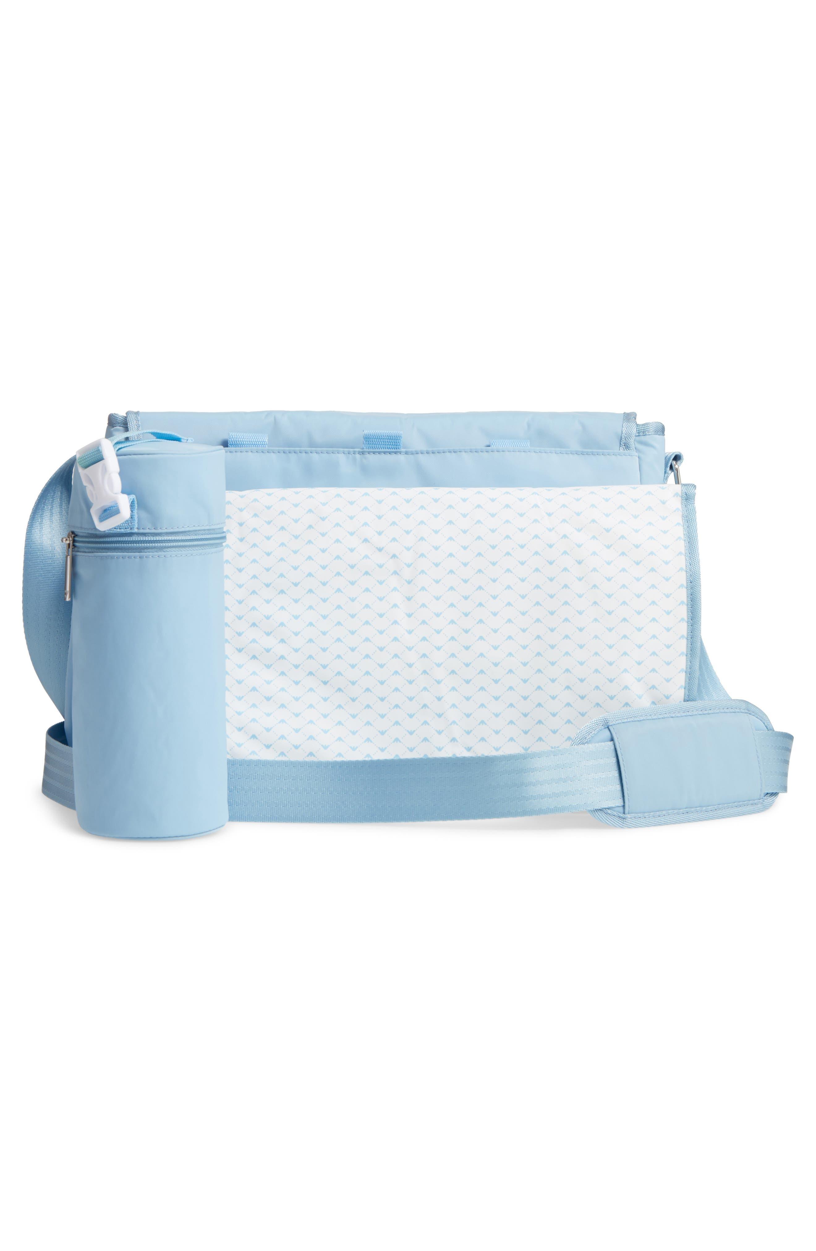 Nylon Messenger Diaper Bag,                             Alternate thumbnail 3, color,                             Light Blue