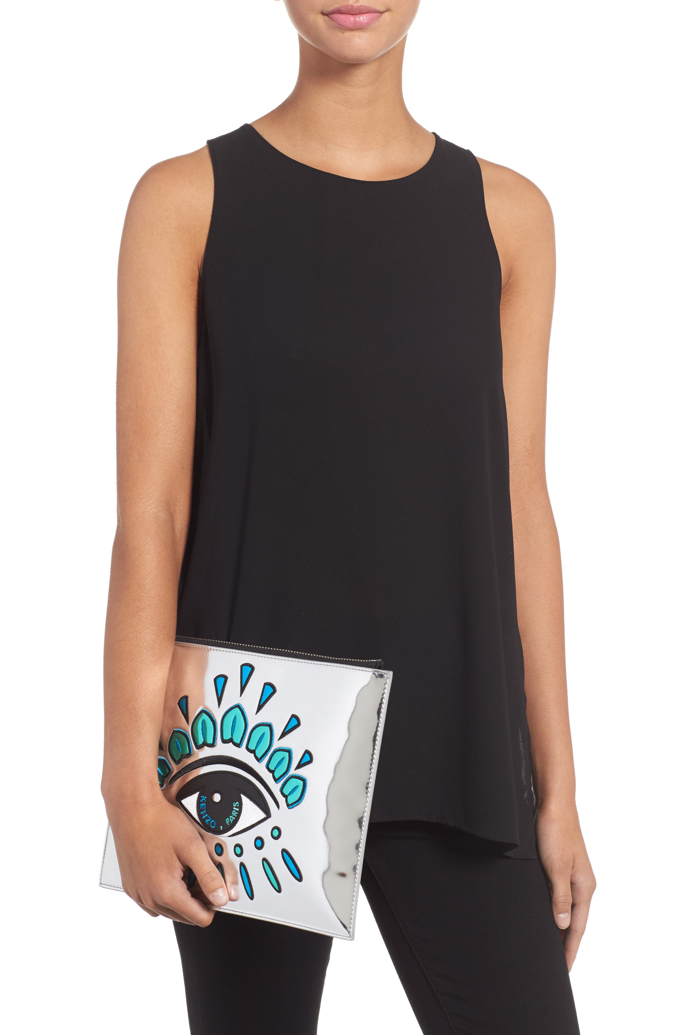Alternate Image 2  - KENZO Icons Eye Faux Leather Pouch