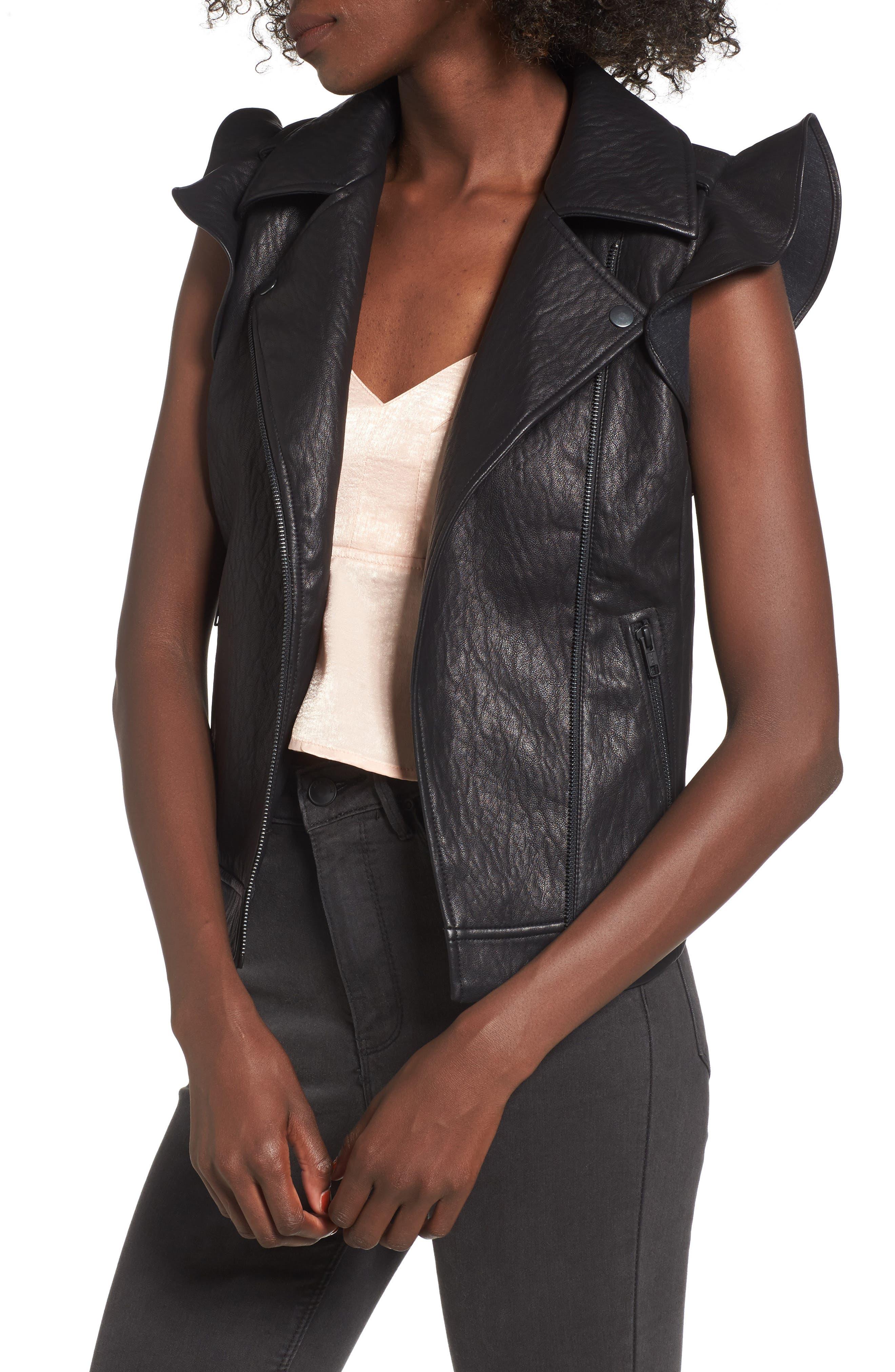 Ruffle Faux Leather Vest,                         Main,                         color, Black