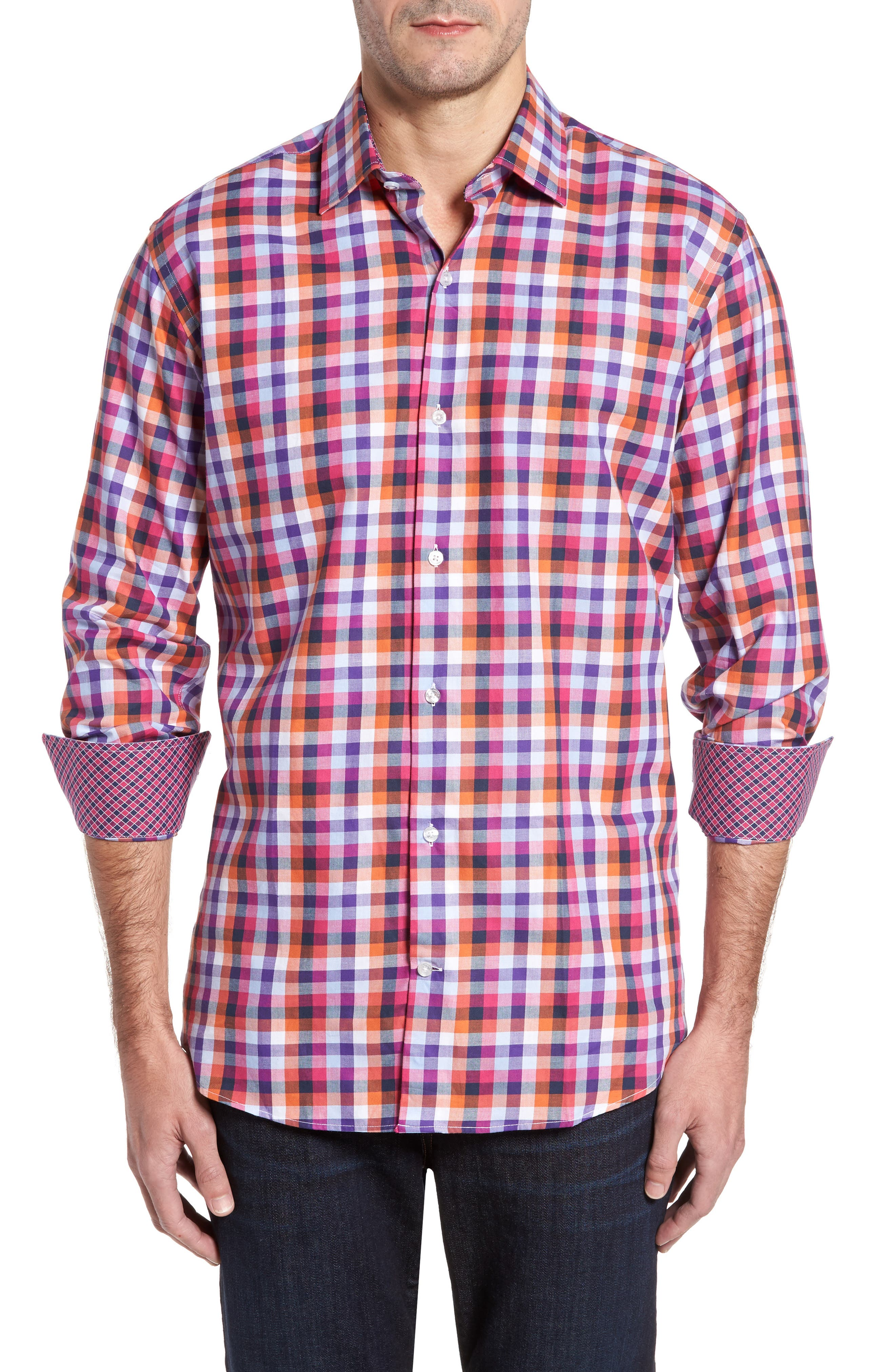 Baker Check Sport Shirt,                         Main,                         color, Navy
