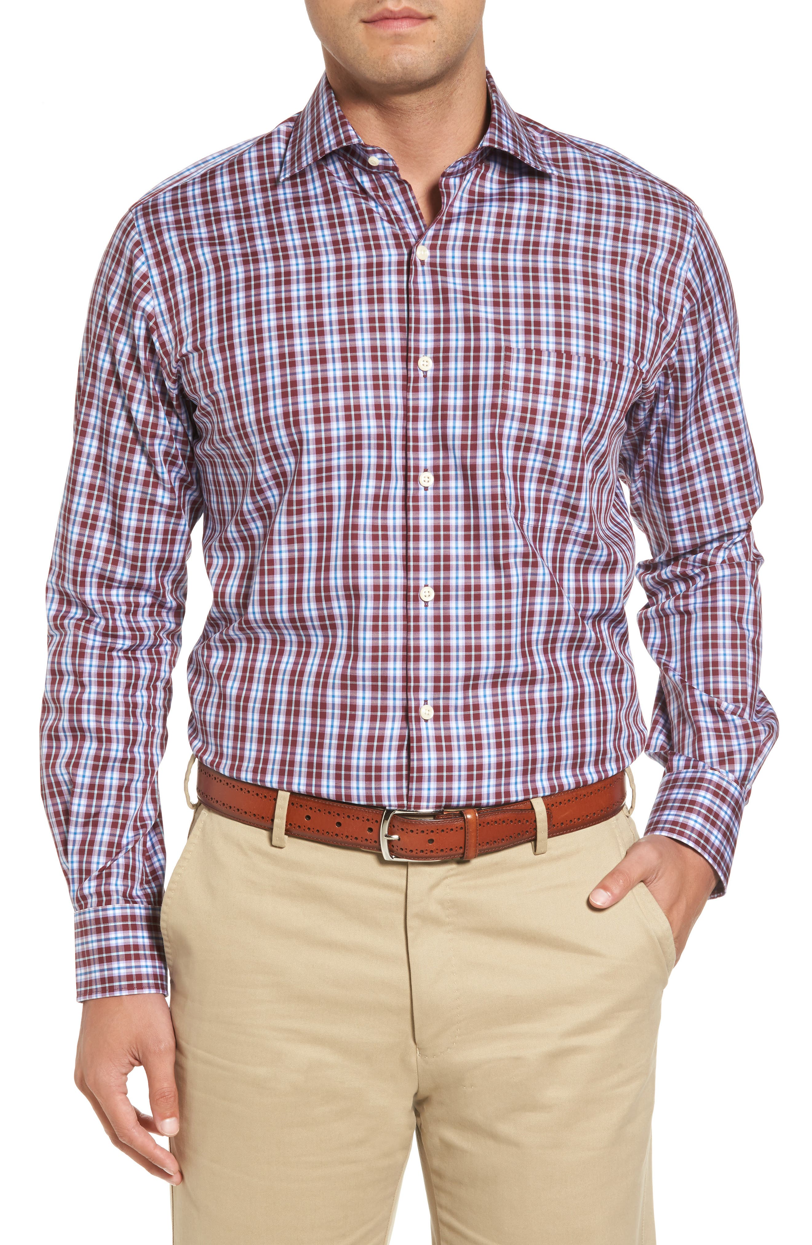 Mitchell Plaid Sport Shirt,                         Main,                         color, French Wine