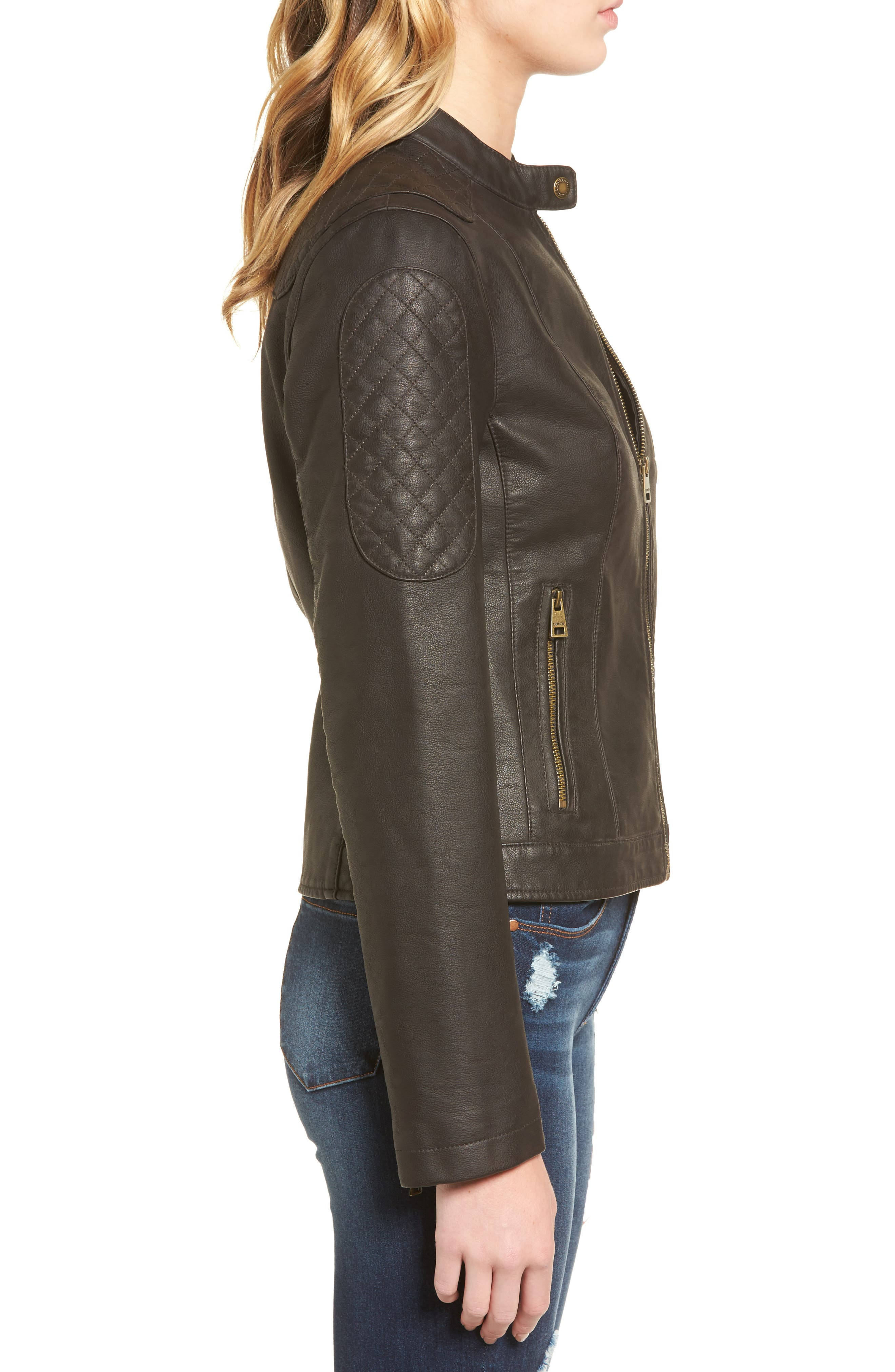 LEVIS<sup>®</sup> Faux Leather Moto Jacket,                             Alternate thumbnail 3, color,                             Brown