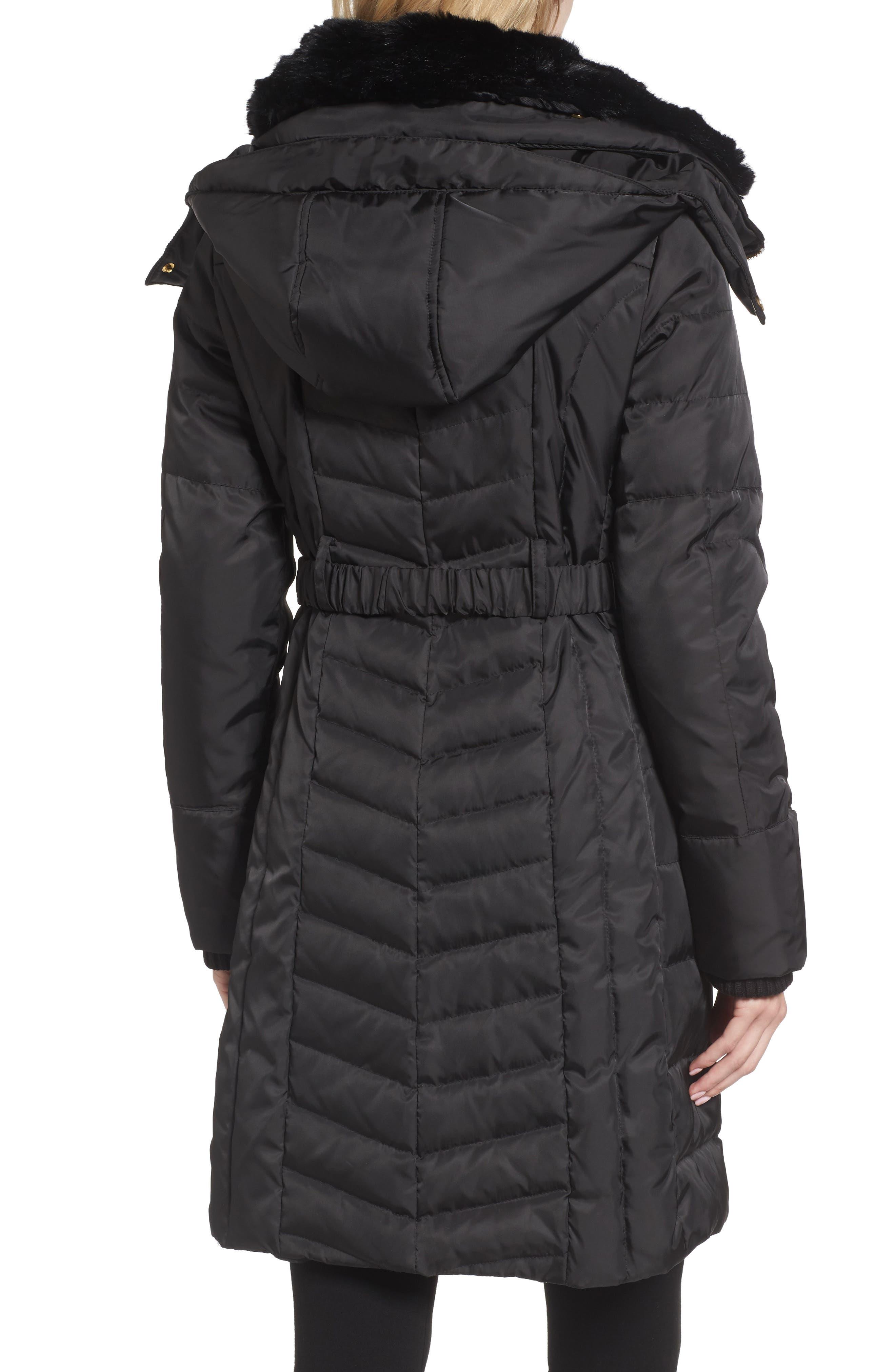 Belted Coat with Detachable Faux Fur,                             Alternate thumbnail 2, color,                             Black