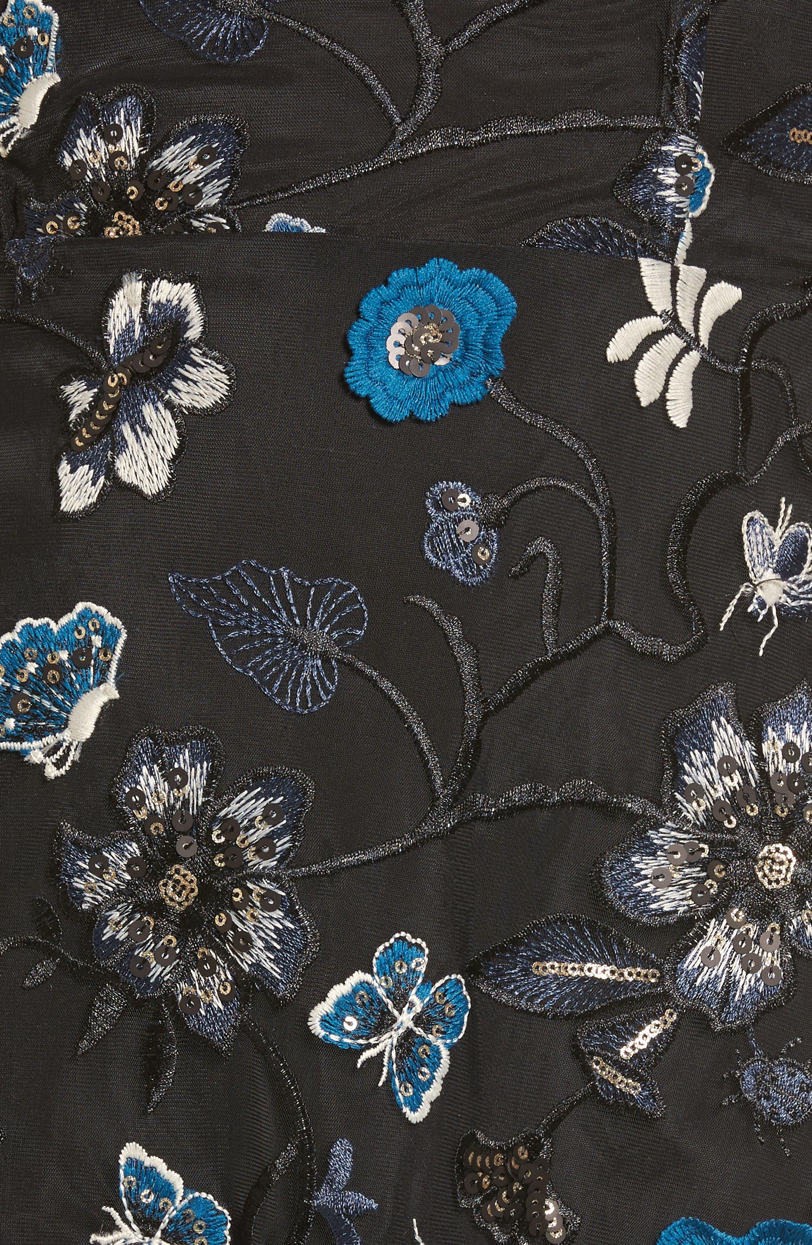 Bontanic Off the Shoulder Dress,                             Alternate thumbnail 5, color,                             Black Floral