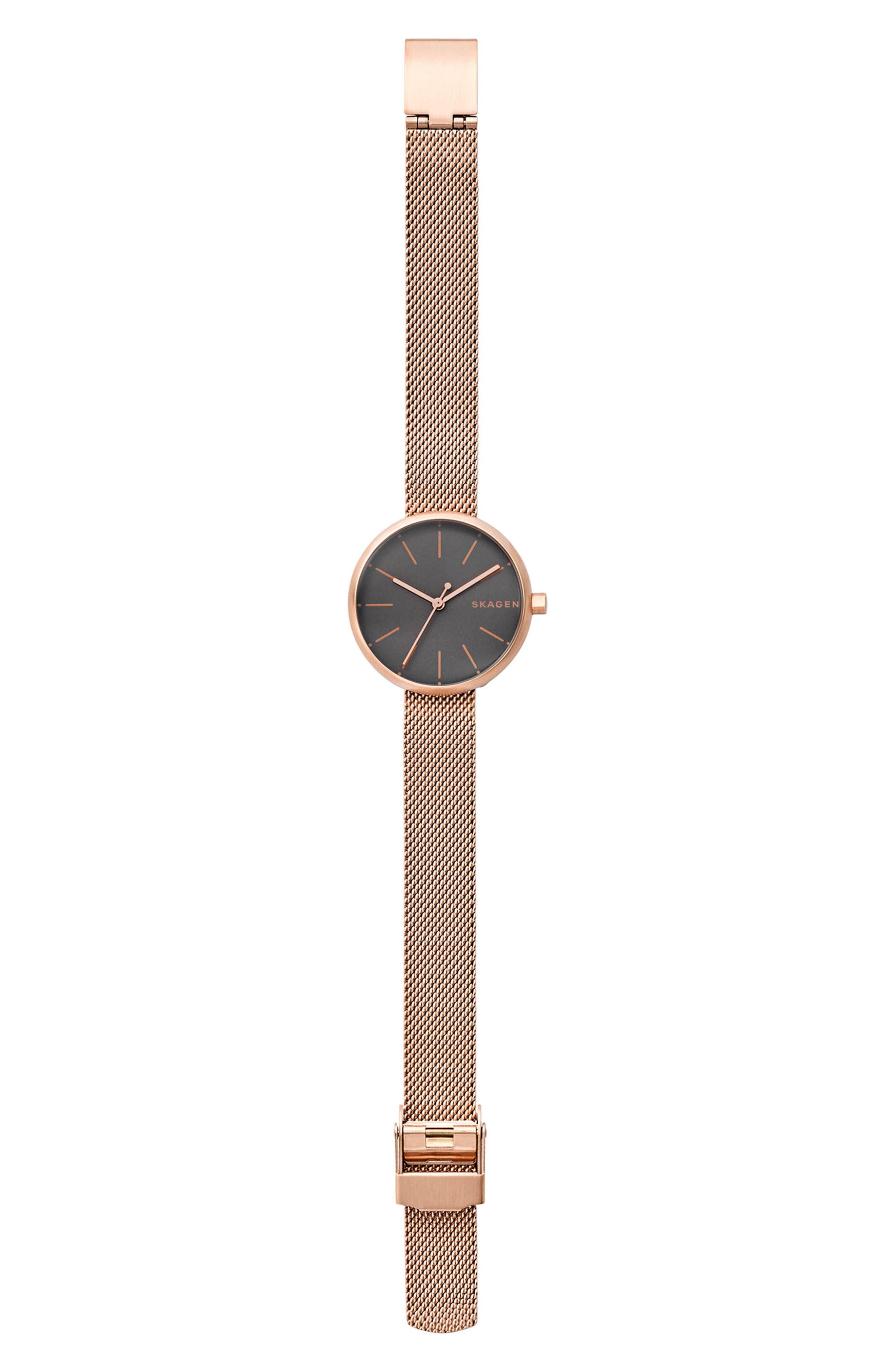 Signatur Mesh Strap Watch, 30mm,                             Alternate thumbnail 3, color,                             Rose Gold/ Grey/ Rose Gold