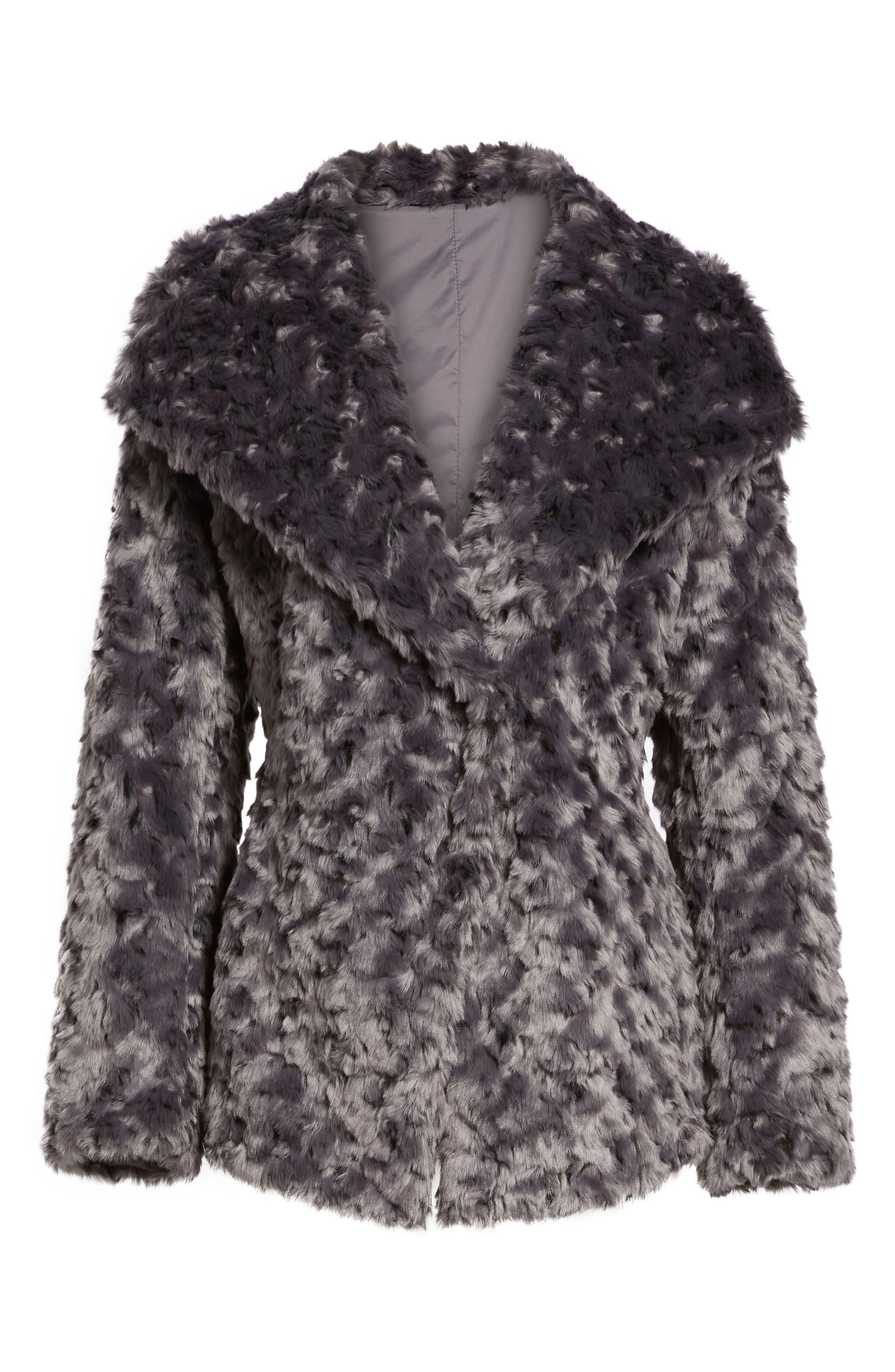 Roslyn Faux Fur Jacket,                             Alternate thumbnail 6, color,                             French Grey