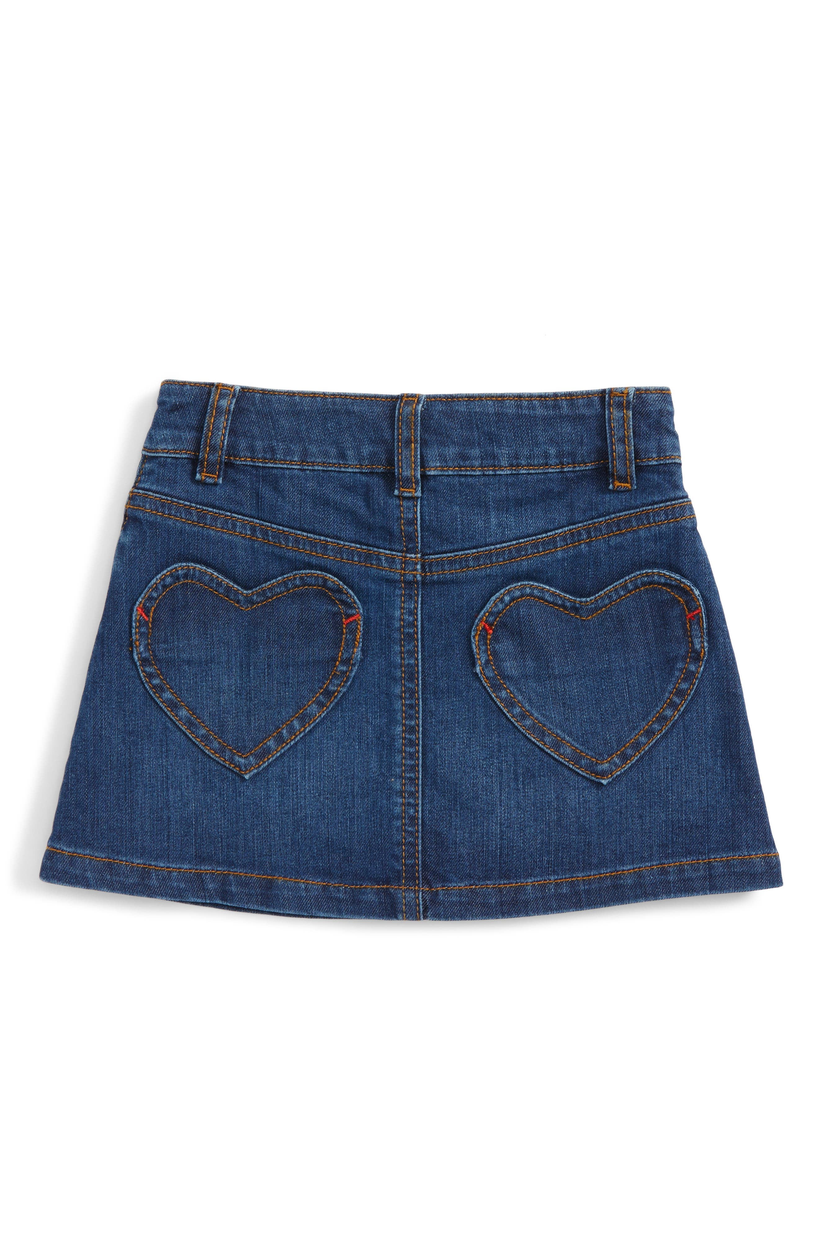 Heart Pocket Denim Skirt,                             Alternate thumbnail 2, color,                             Blue Vintage