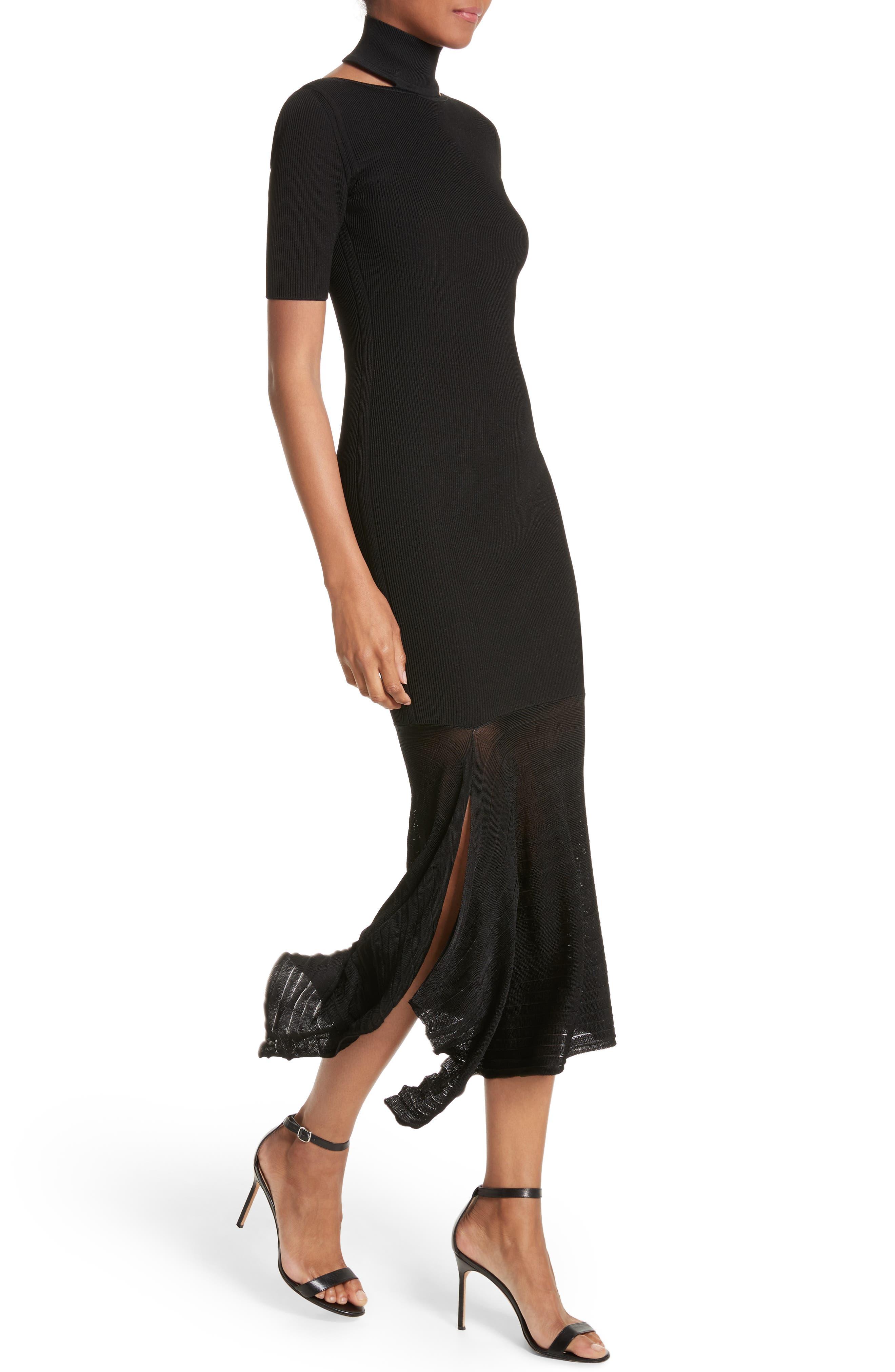 Asymmetrical Knit Dress,                             Alternate thumbnail 3, color,                             Black