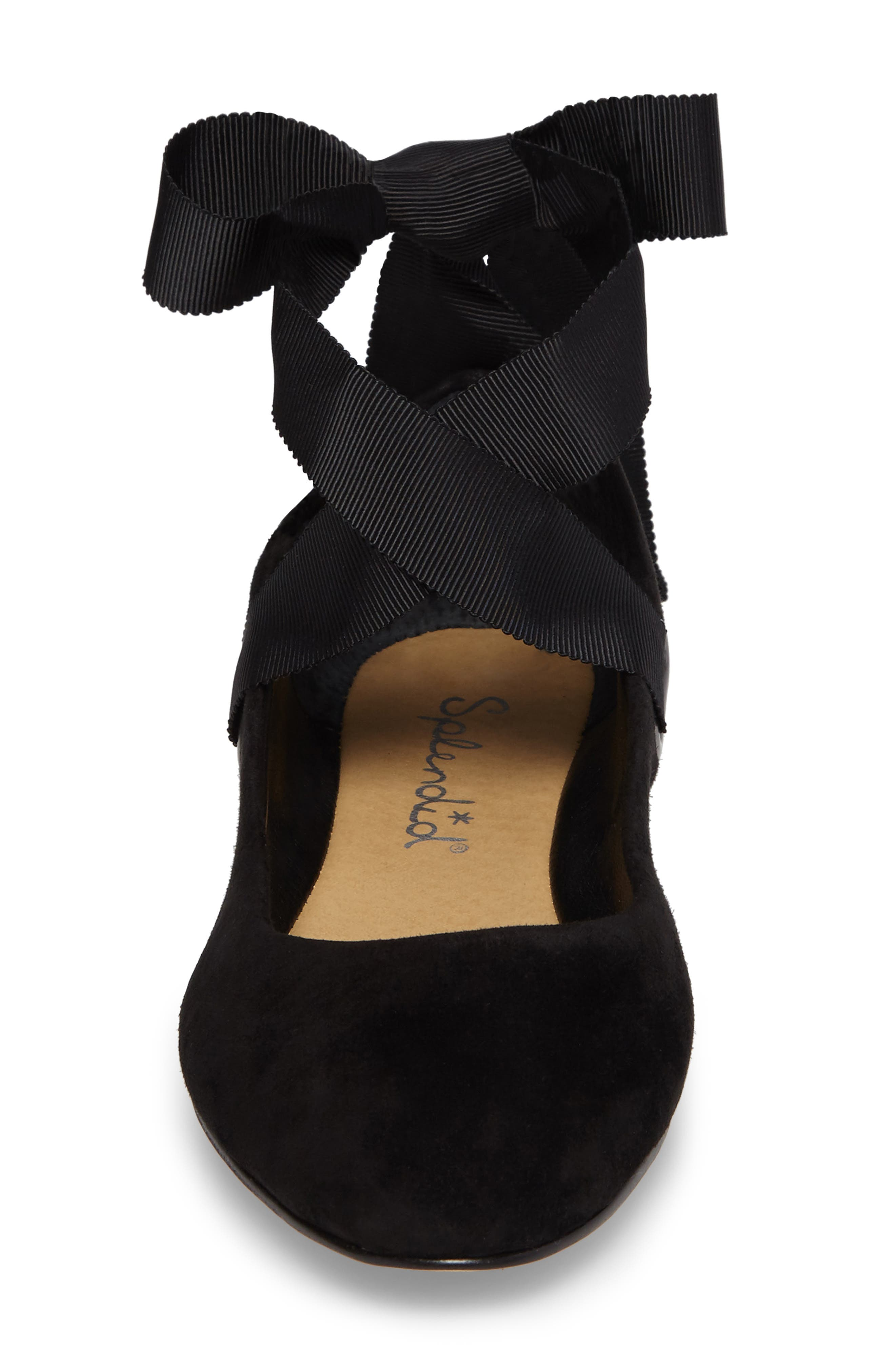 Renee Ankle Tie Flat,                             Alternate thumbnail 4, color,                             Black Suede