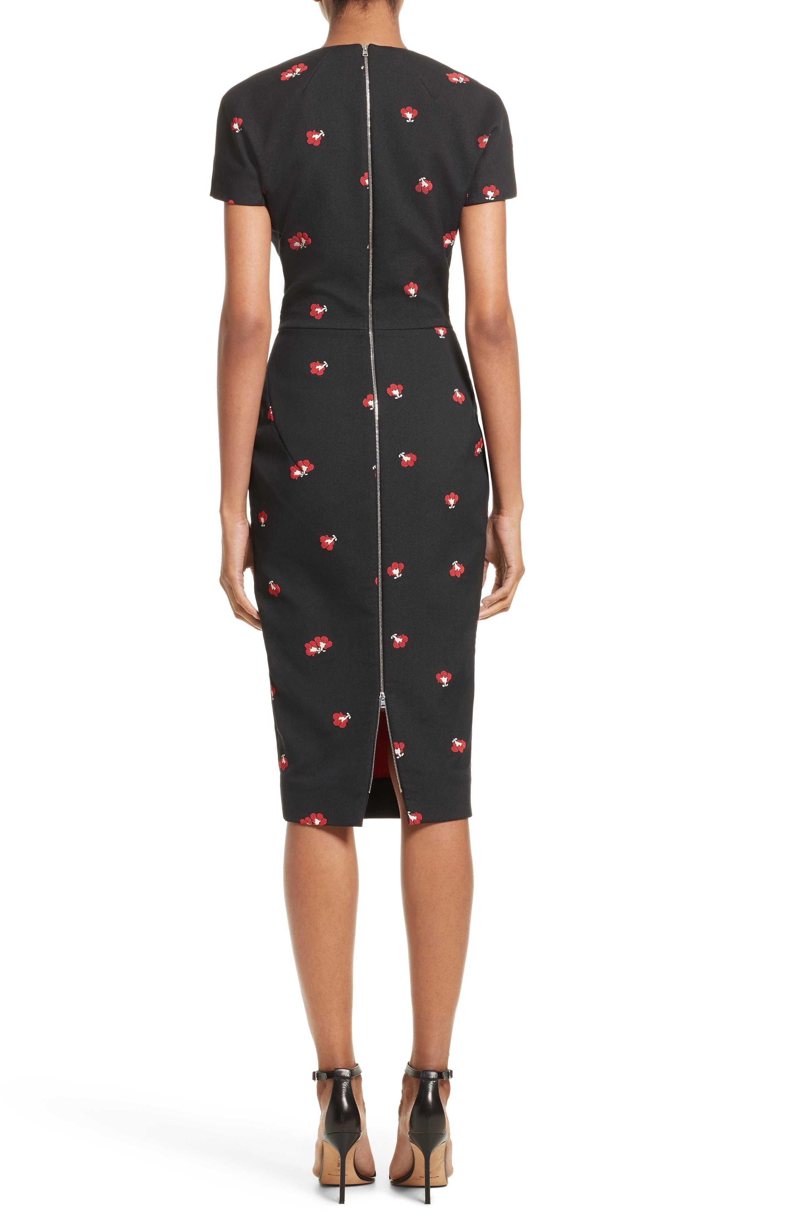 Flower Print Pencil Dress,                             Alternate thumbnail 2, color,                             Black/ Red