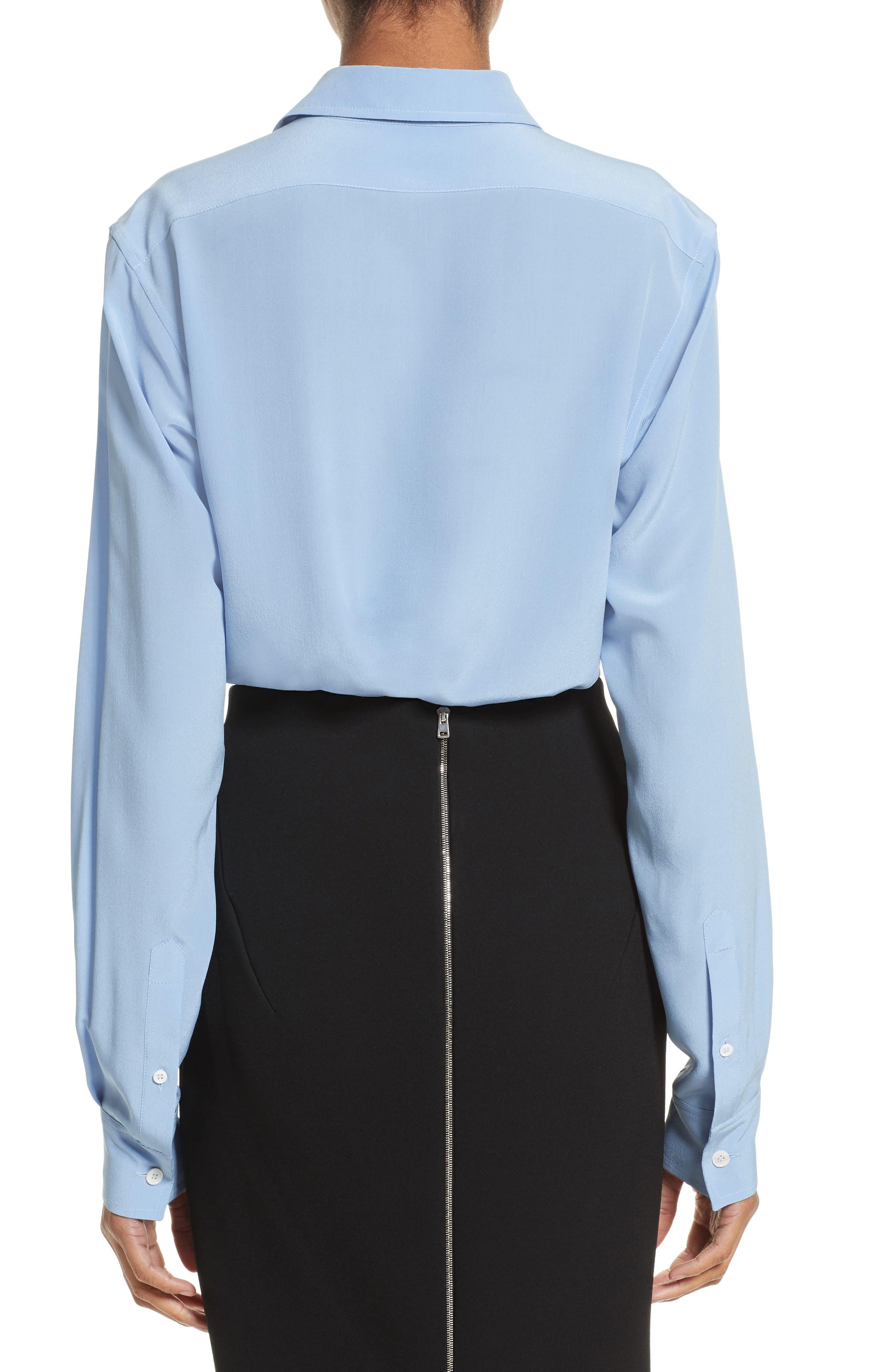 Silk Blouse,                             Alternate thumbnail 2, color,                             Oxford Blue