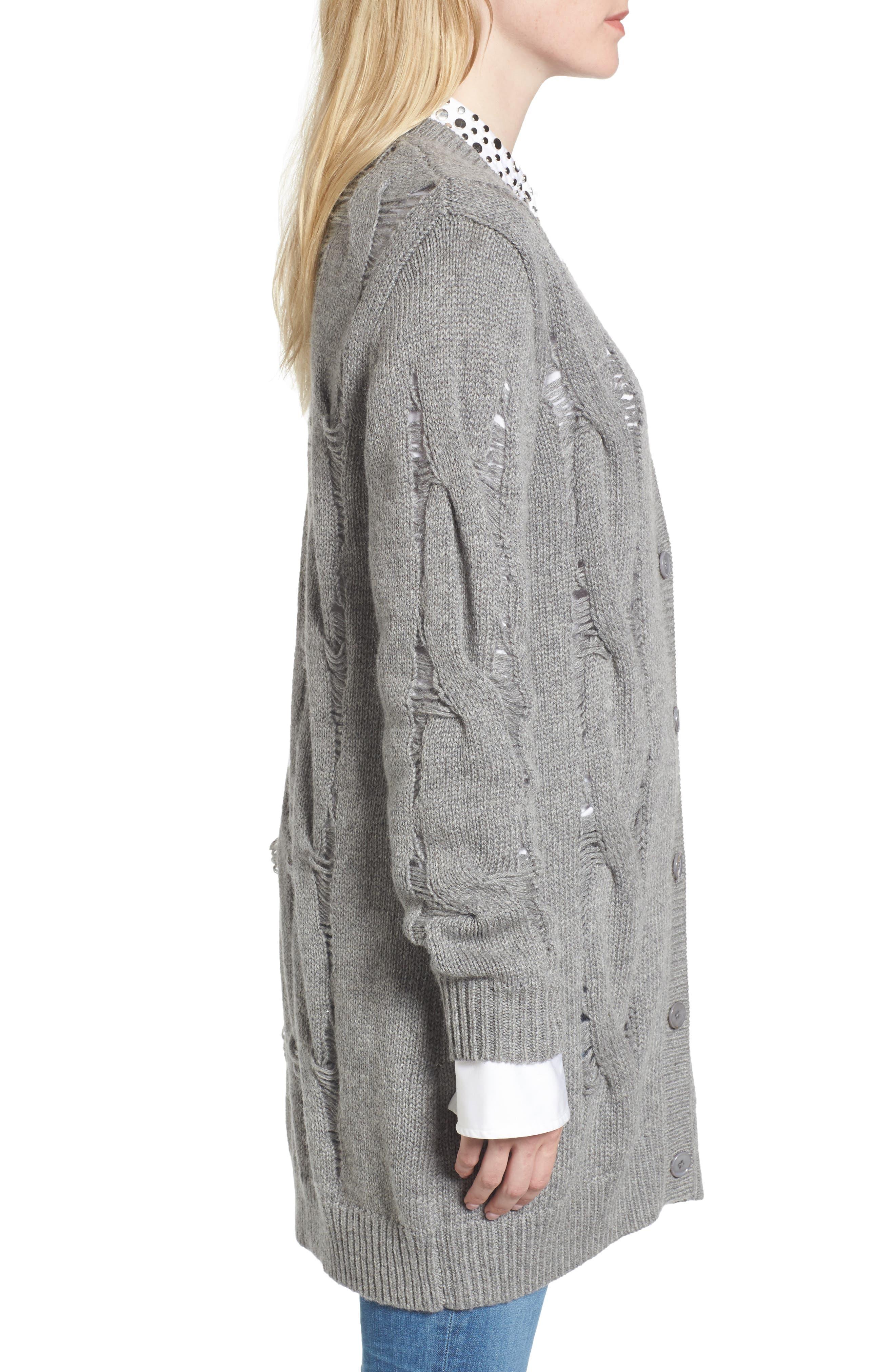 Sandrine Longline Cardigan Sweater,                             Alternate thumbnail 3, color,                             Pebble Grey