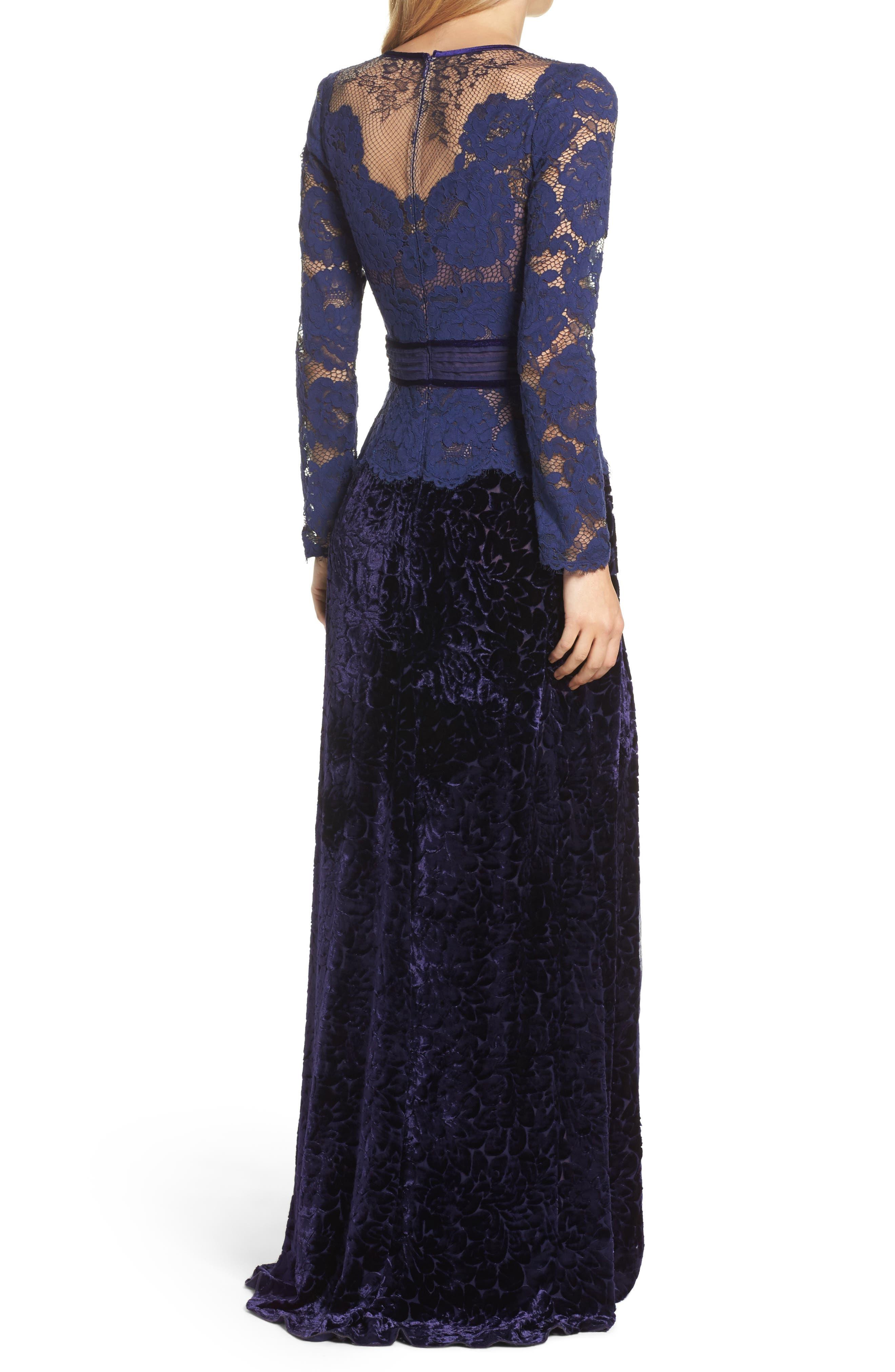 Alternate Image 2  - Tadashi Shoji Mixed Media A-Line Gown