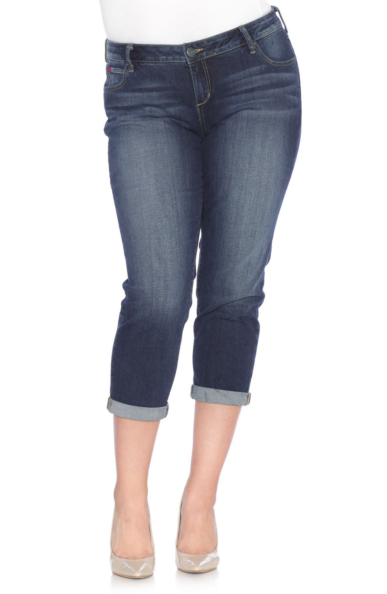 SLINK Jeans Rolled Crop Boyfriend Jeans (Kelly) (Plus Size)