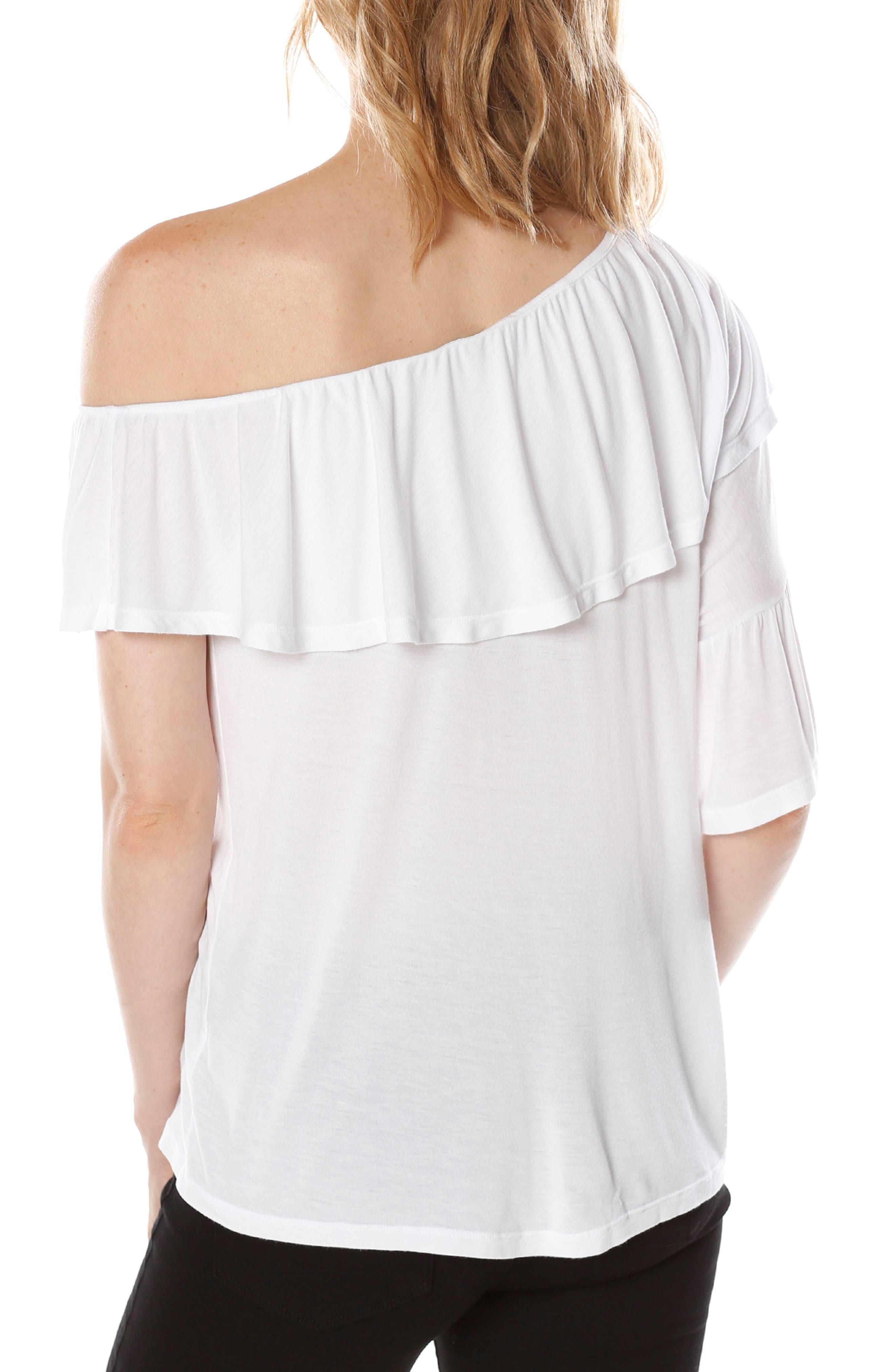 Pax One-Shoulder Top,                             Alternate thumbnail 3, color,                             Optic White